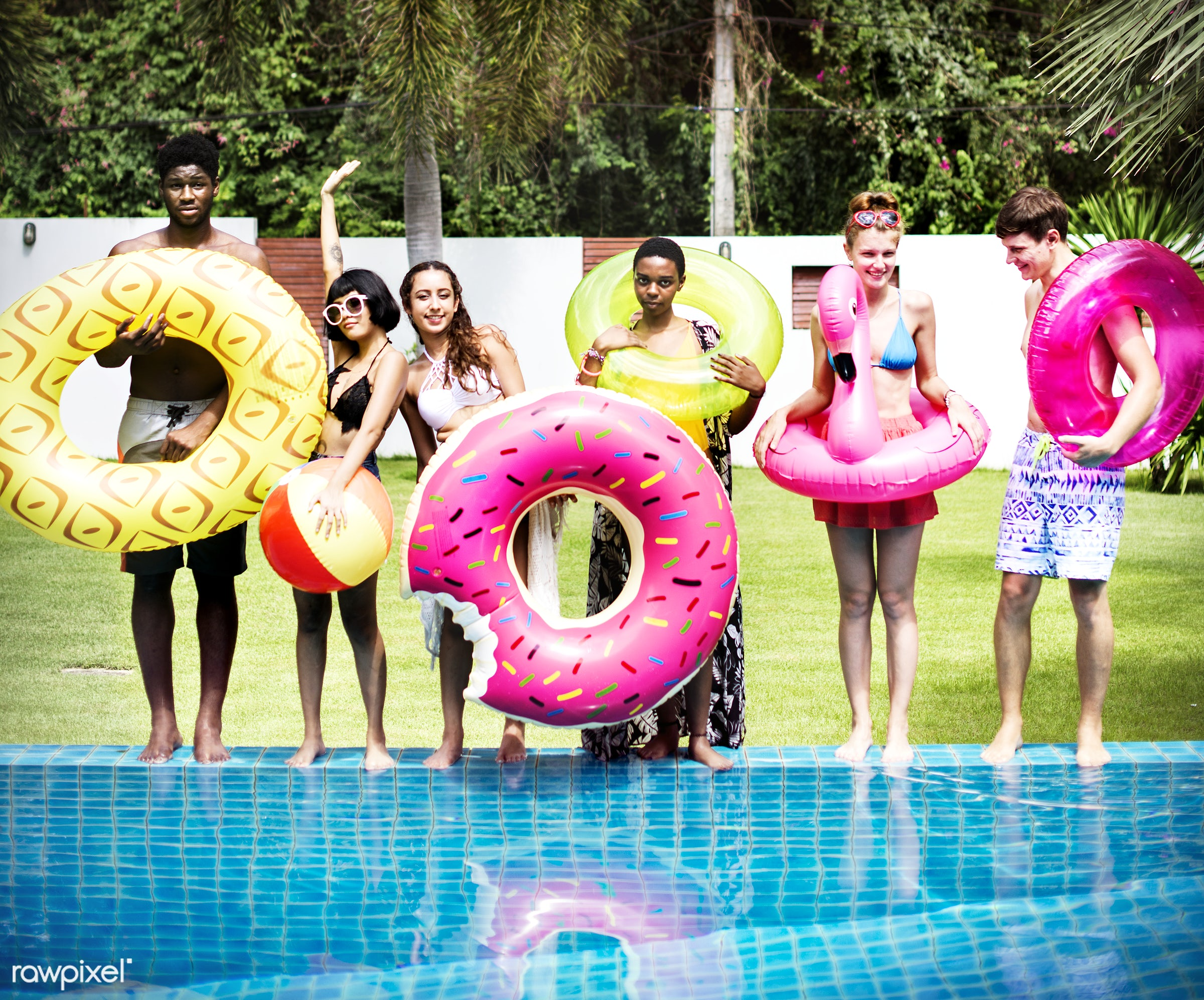 relax, diverse, donut, recreation, party, people, together, friends, pool, tubes, cheerful, activity, enjoying, happiness,...