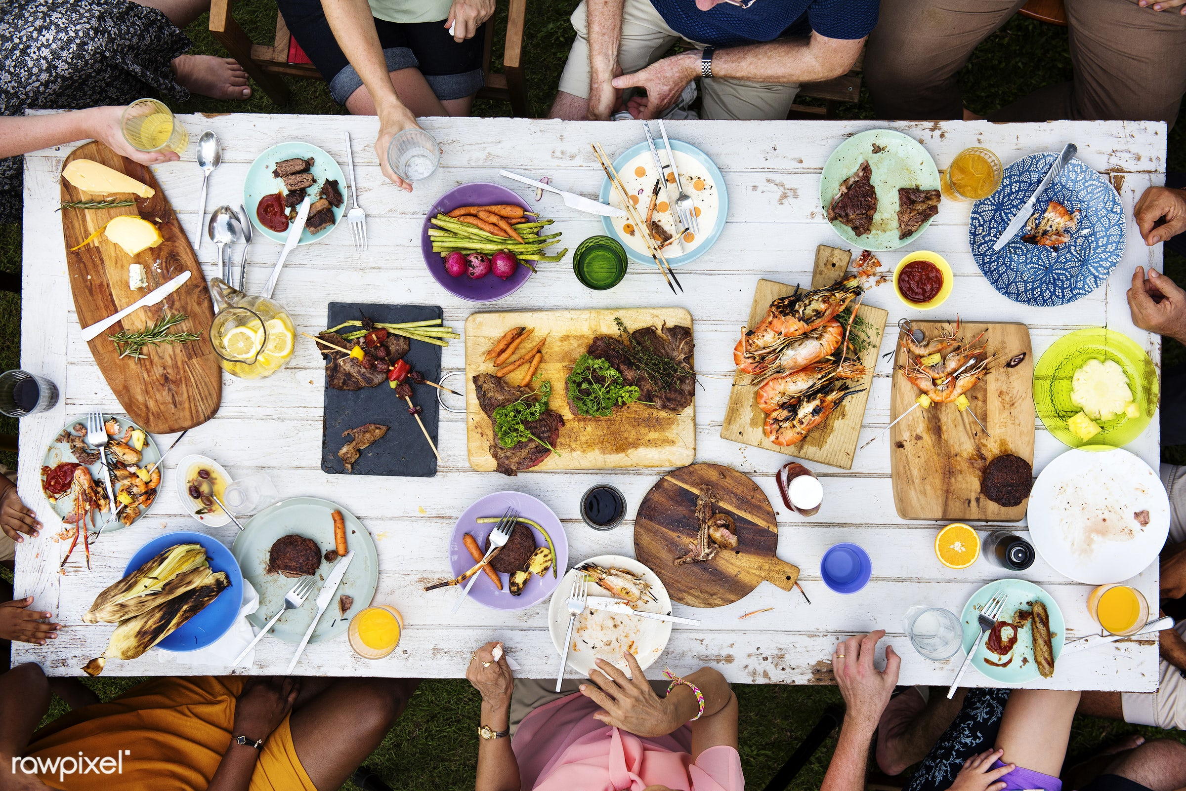 cuisine, diverse, homemade, party, together, friends, hands, juice, gathering, lunch, aerial view, meal, beverage, seafood,...