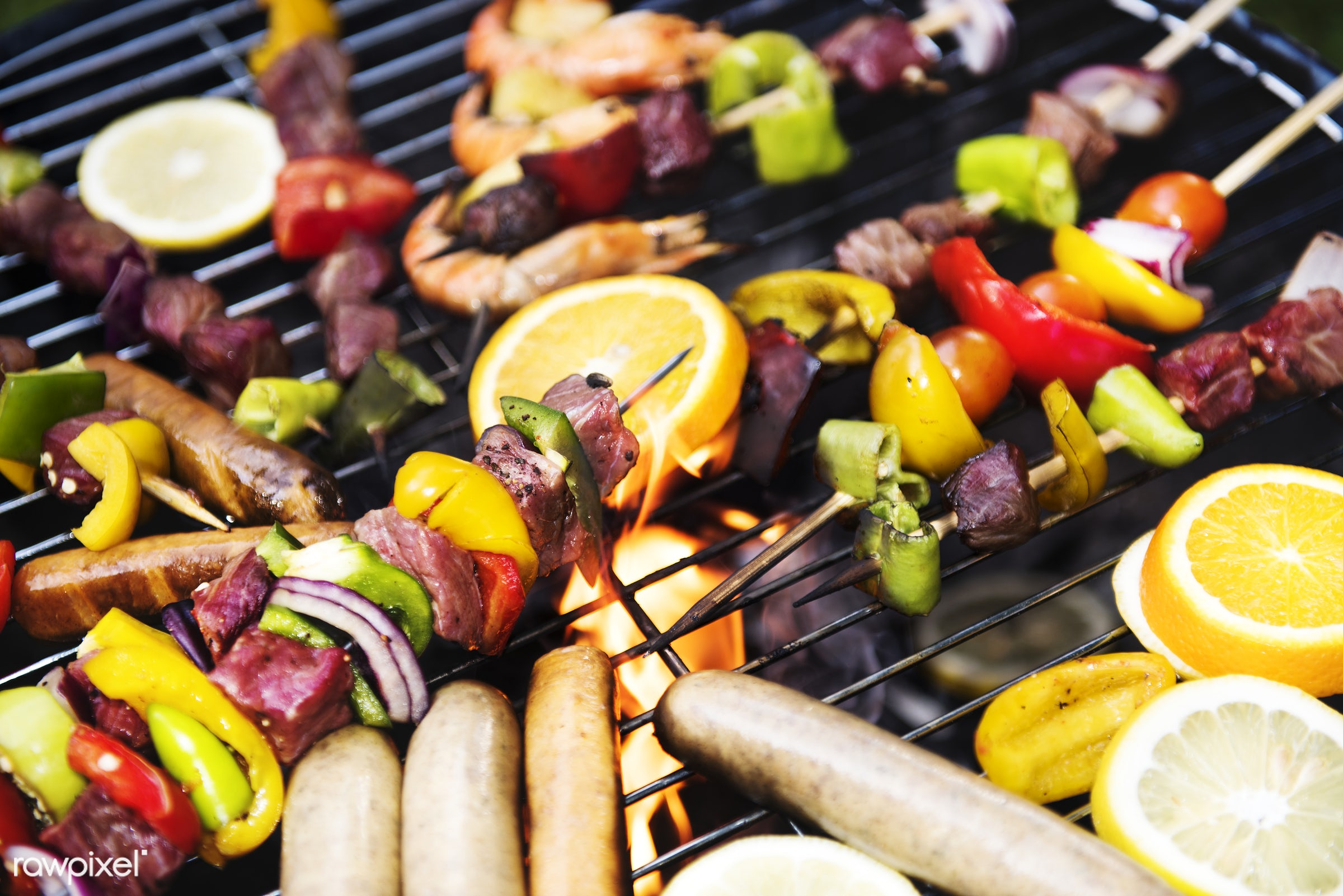 Cooking barbecue on charcoal grill - bbq, barbecue, meat, sausage, charcoals, closeup, cook, cooking, cookout, fire, food,...