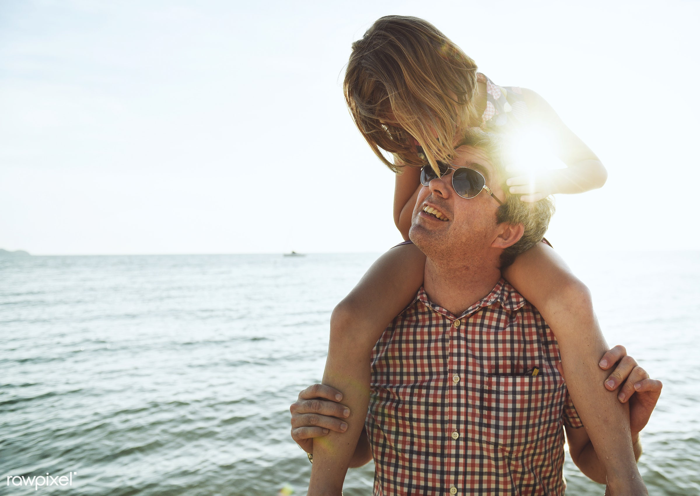 parents, piggy back ride, daughter, beach, together, father, girl, sky, family, casual, childhood, smiling, dad, sea,...