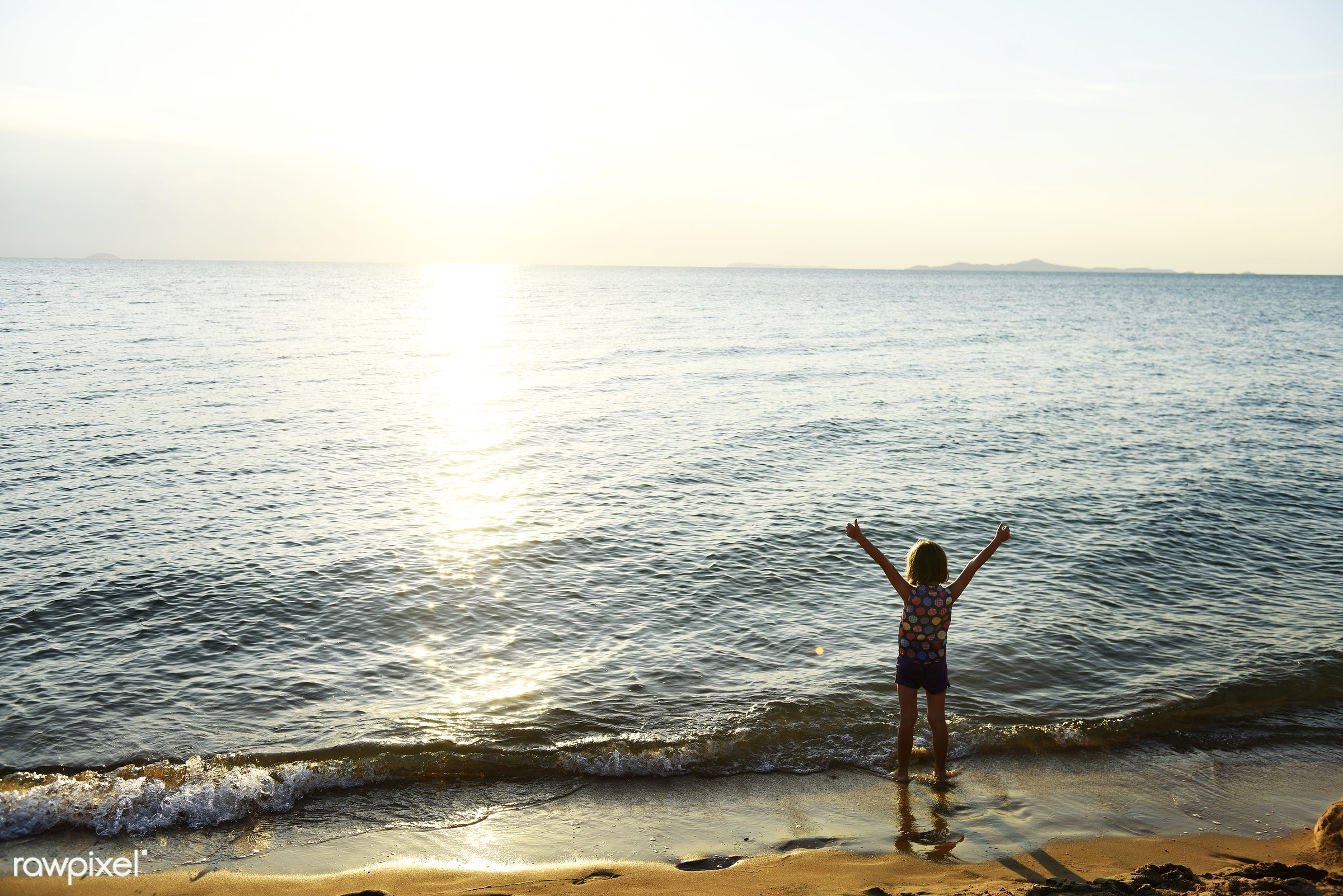 beach, kid, vacation, child, rear view, alone, arms raised, blonde, coast, girl, holiday, leisure, outdoors, relax, sand,...