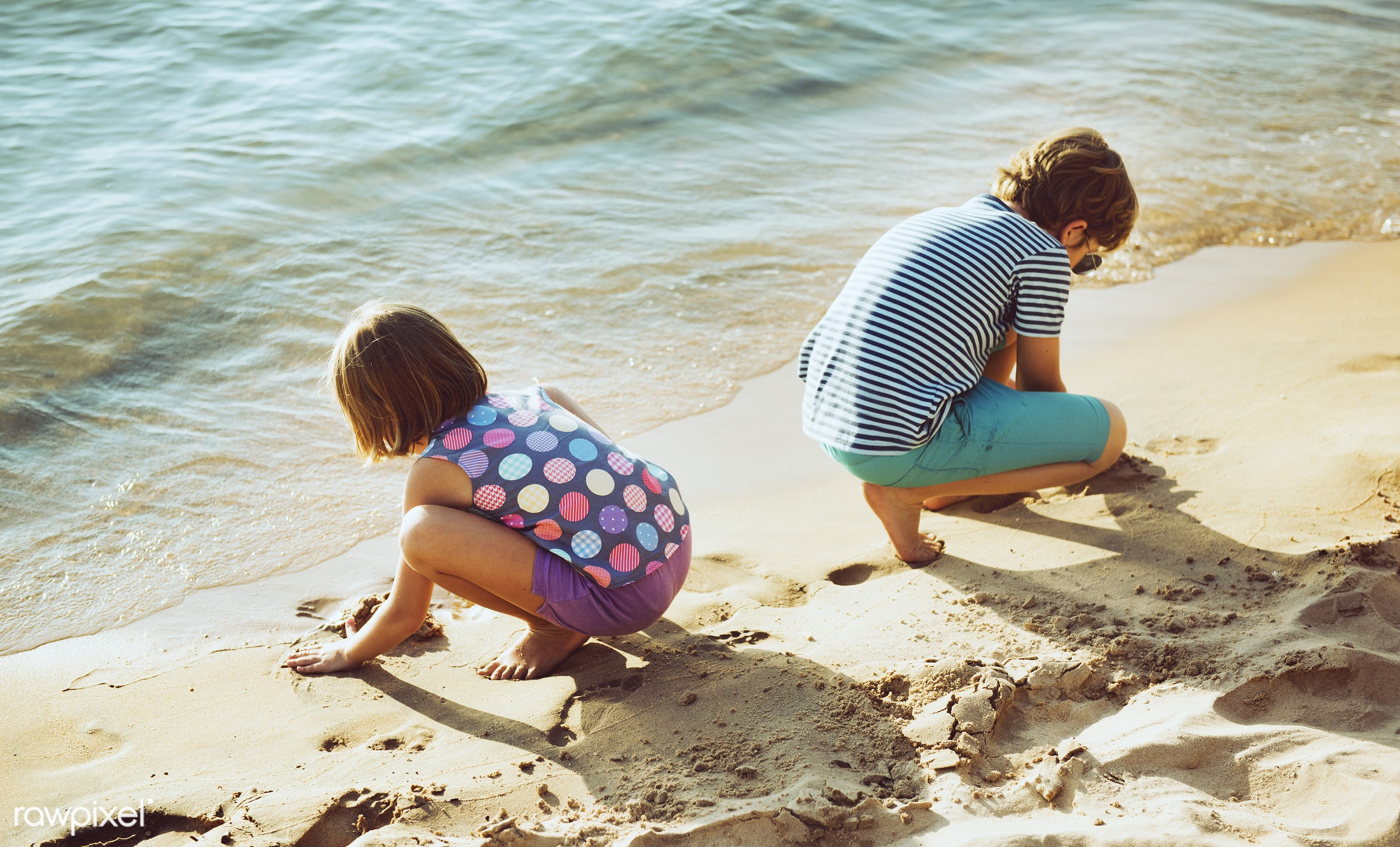 beach, sand, bay, boy, children, crouch, fun, girl, holiday, kids, nature, playing, sea, shore, summer, vacation, young
