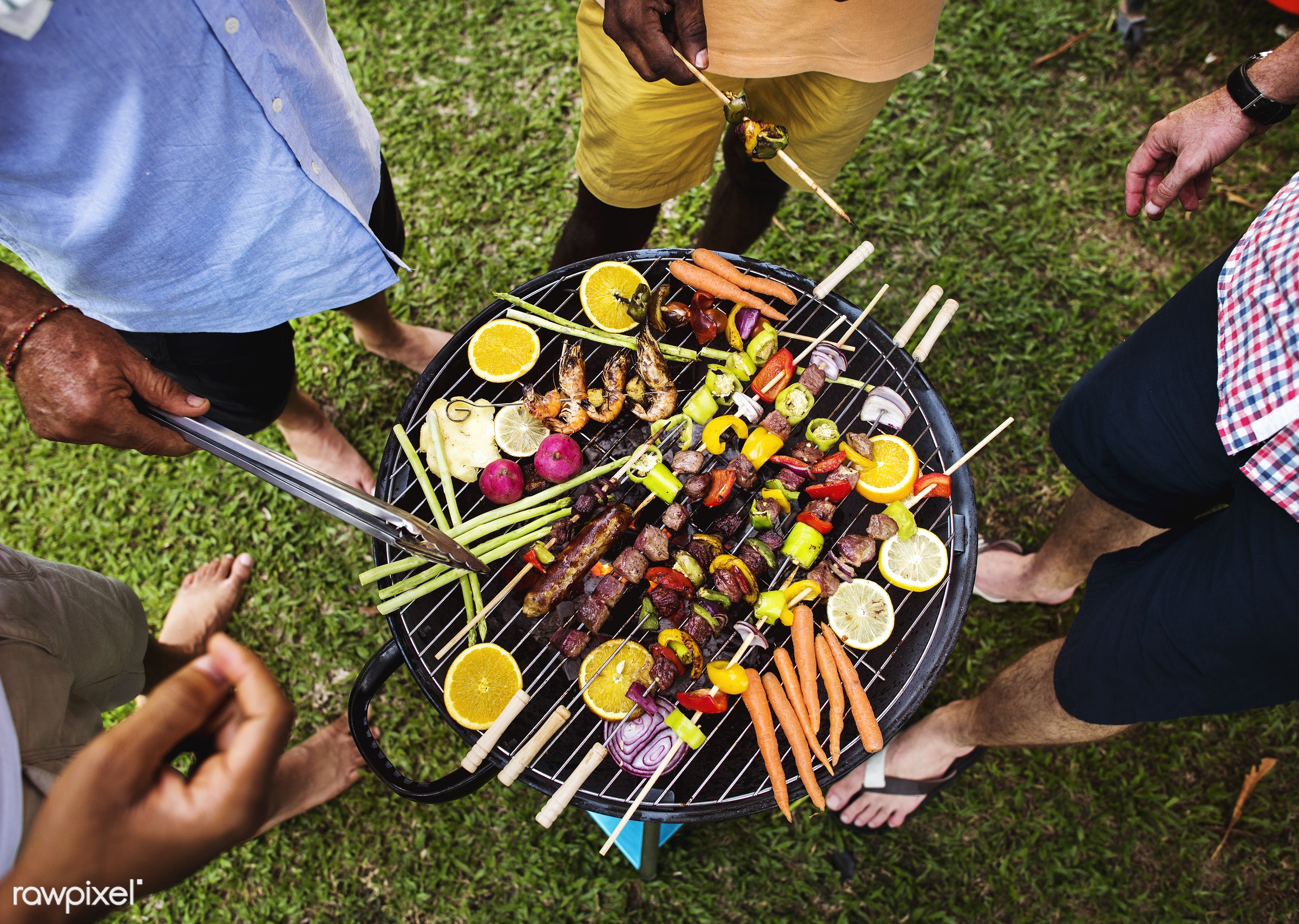bbq, grill, aerial view, barbecue, cook, cookout, diverse, eating, family, food, friends, outdoors, party, people,...