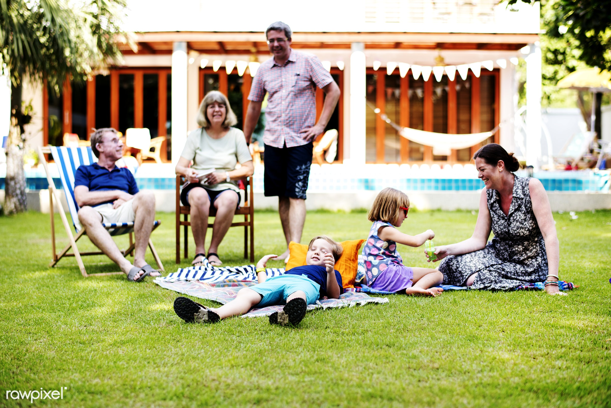 relax, daughter, together, caucasian, father, sister, family, backyard, cheerful, smiling, dad, enjoying, parent, son,...