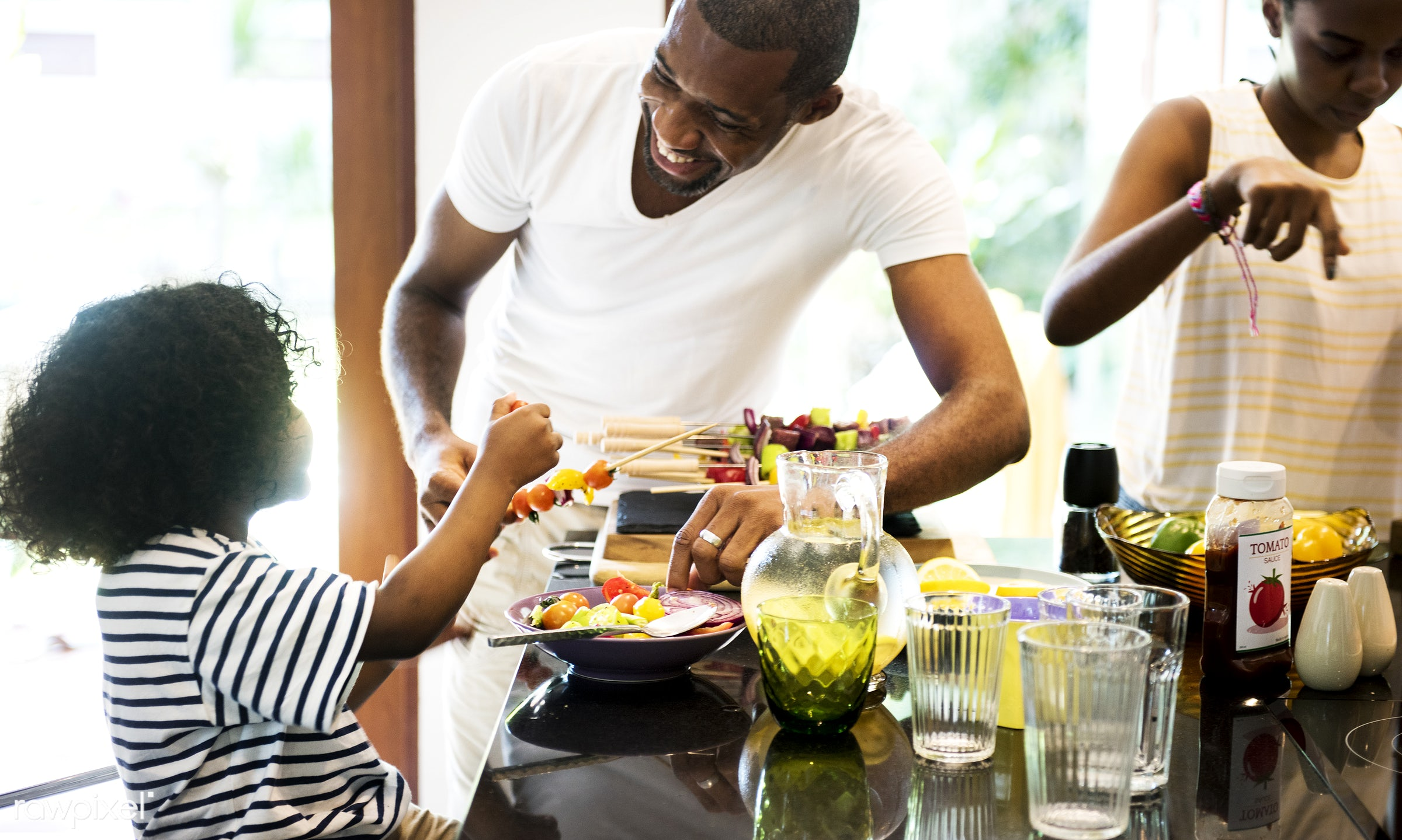 barbecue, african descent, bbq, casual, cheerful, cook, counter, diverse, family, food, fruits, group, help, home, house,...
