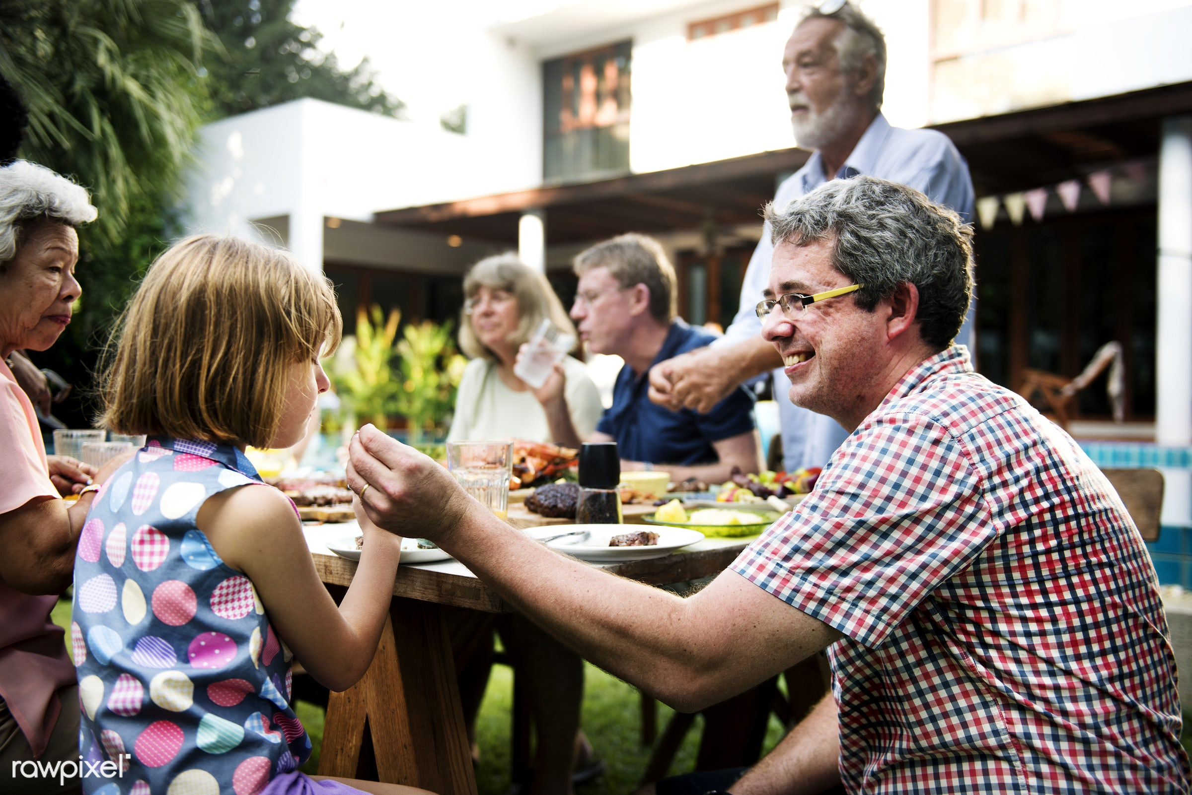 relax, daughter, together, caucasian, father, family, lunch, backyard, cheerful, smiling, closeup, meal, dad, enjoying,...