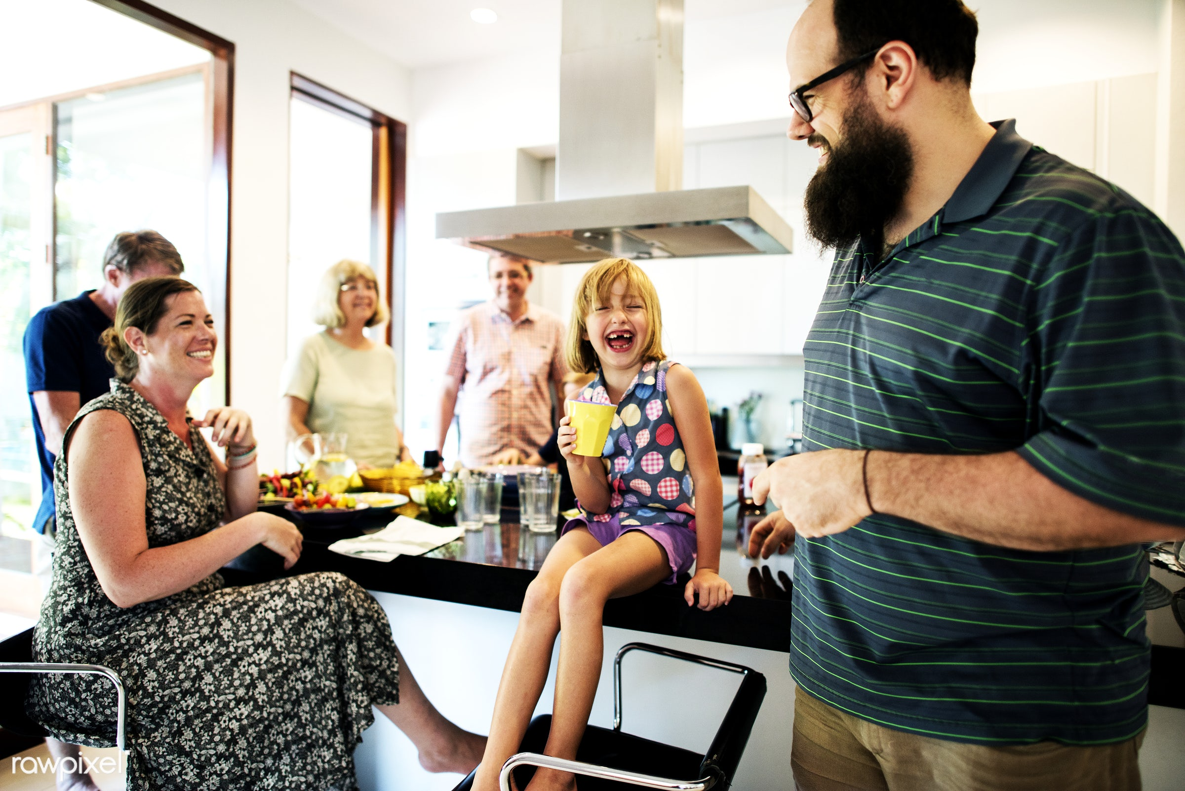 Group of cheerful people in the kitchen - adults, cheerful, child, diverse, enjoying, family, food, fun, generations, girl,...