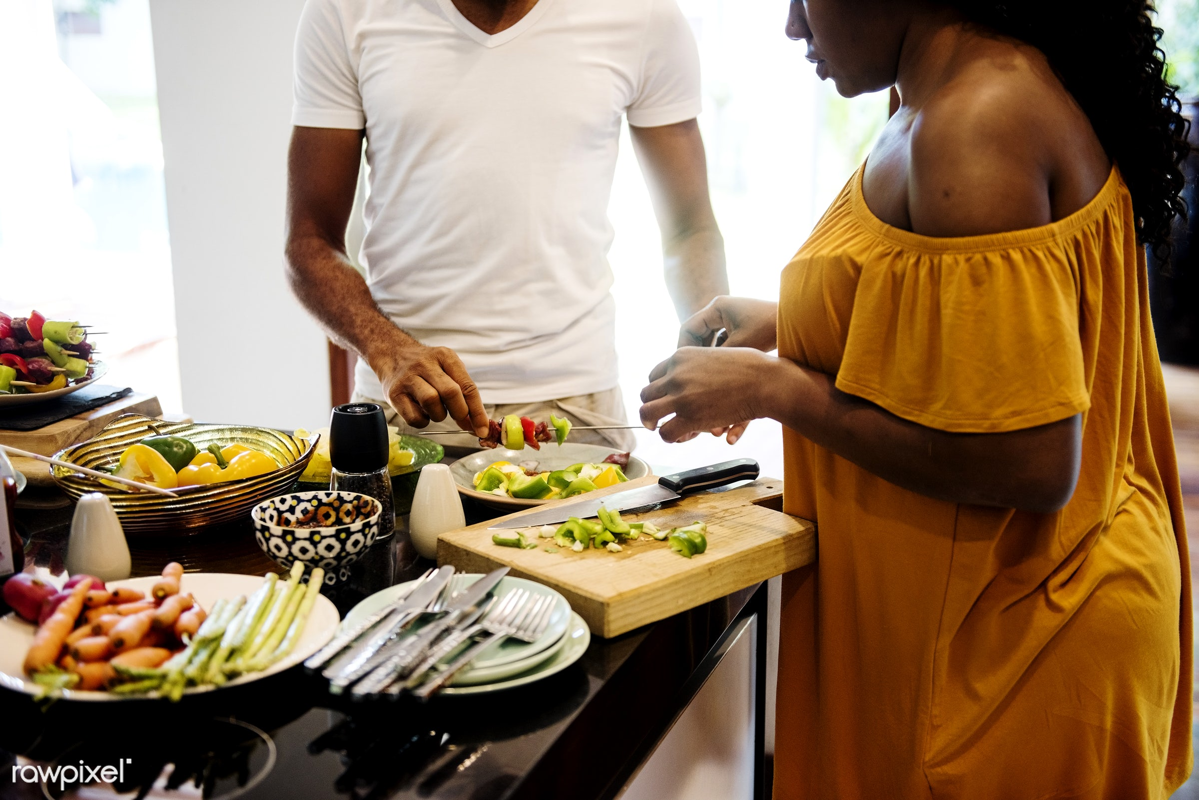 african descent, barbecue, bbq, casual, cheerful, cook, counter, diverse, family, food, fruits, group, help, home, house,...