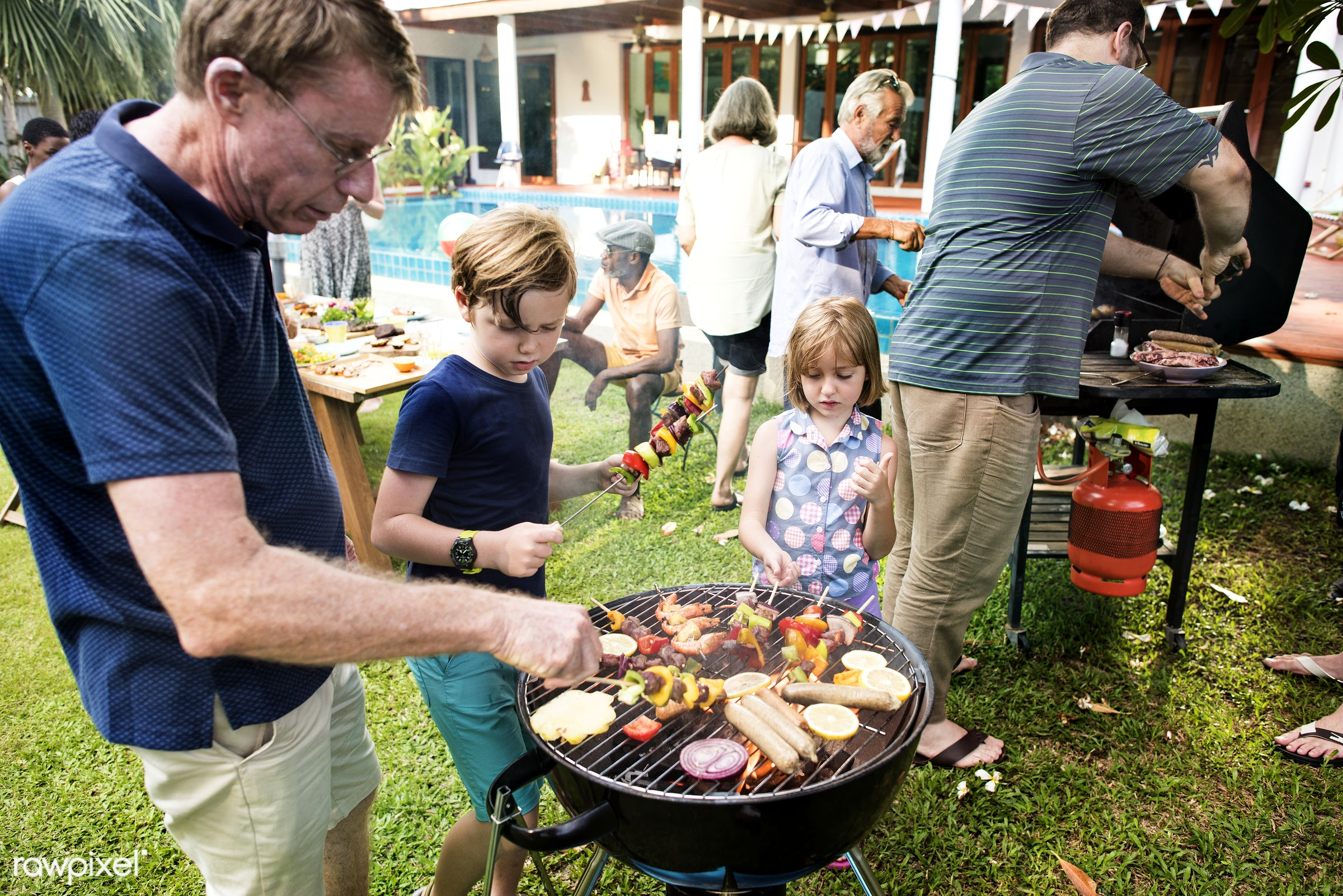 barbecue, backyard, bbq, cheerful, children, cook, cooking, cookout, dad, daughter, diverse, family, father, food, friends,...