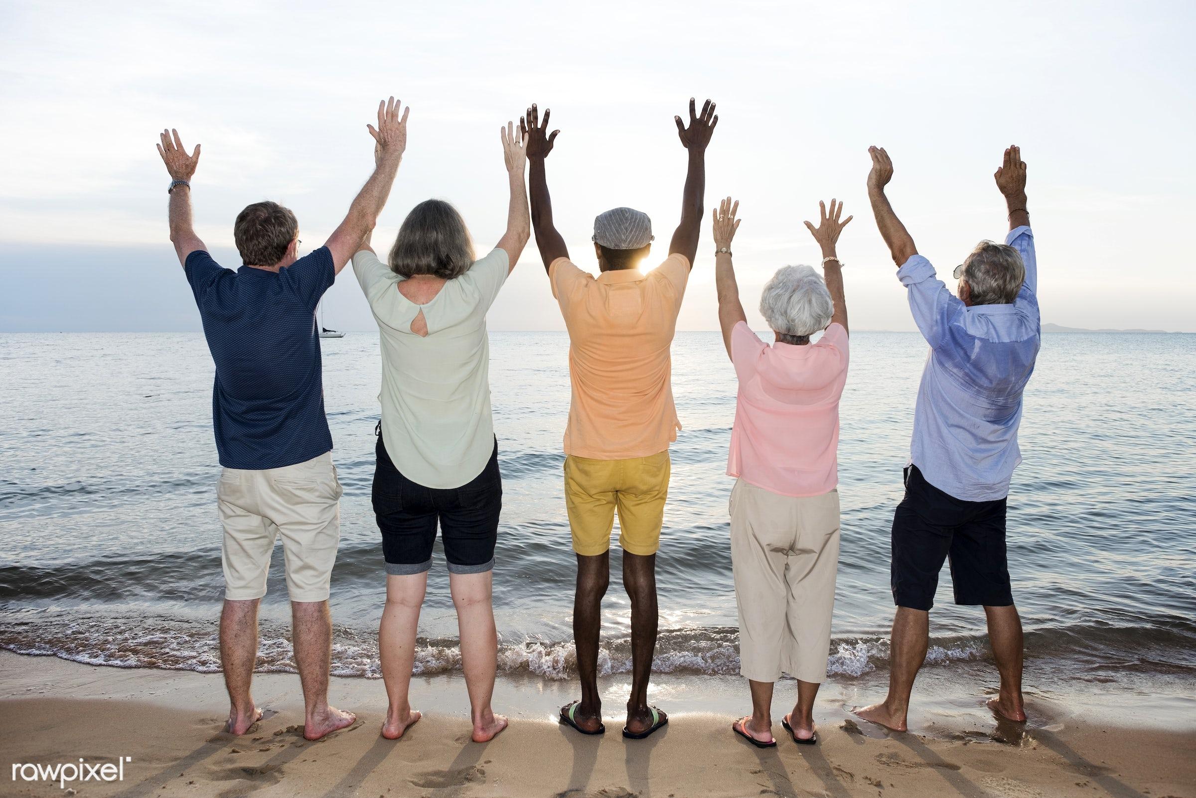 arms raised, beach, break, cheerful, coast, diverse, elderly, family, freedom, friends, friendship, fun, gesture, group,...