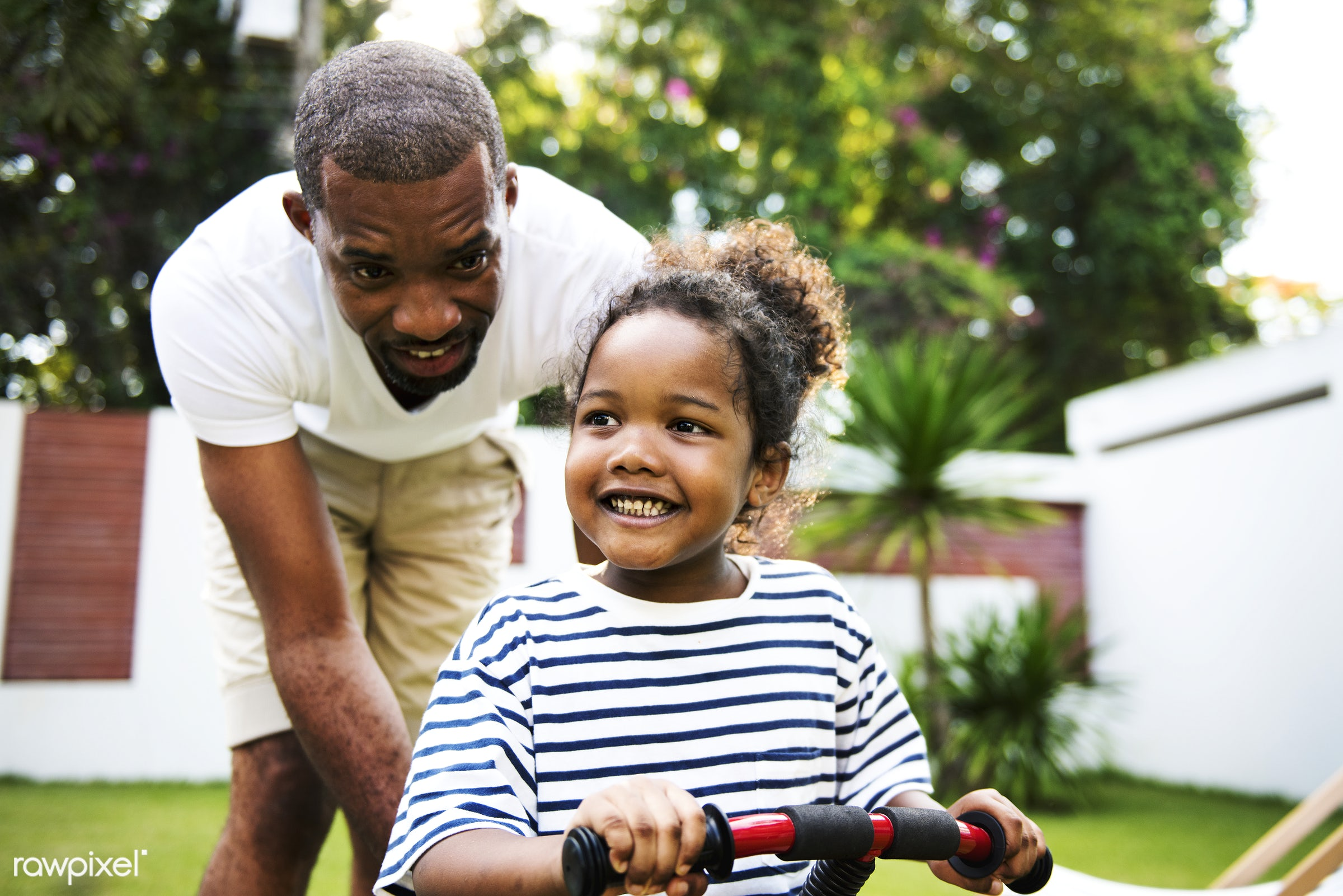 child, father, african descent, bike, black, cheerful, closeup, dad, daughter, enjoying, family, fun, happiness, helping,...