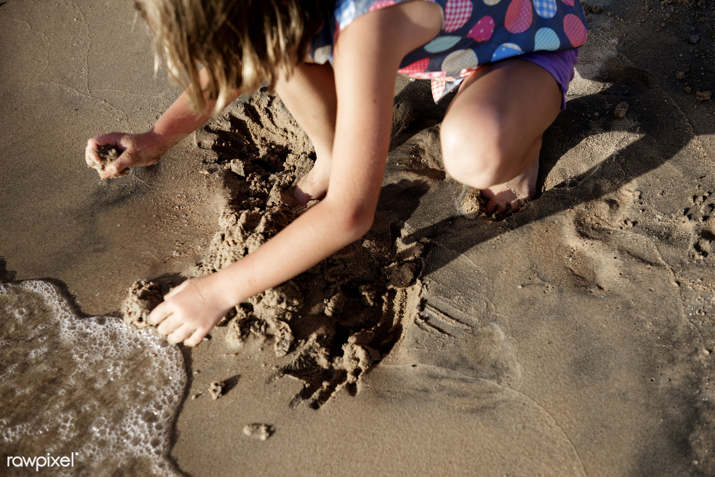 shore, beach, kid, playing, child, girl, nature, sand, crouch, sea, fun, young, holiday, vacation, bay, summer