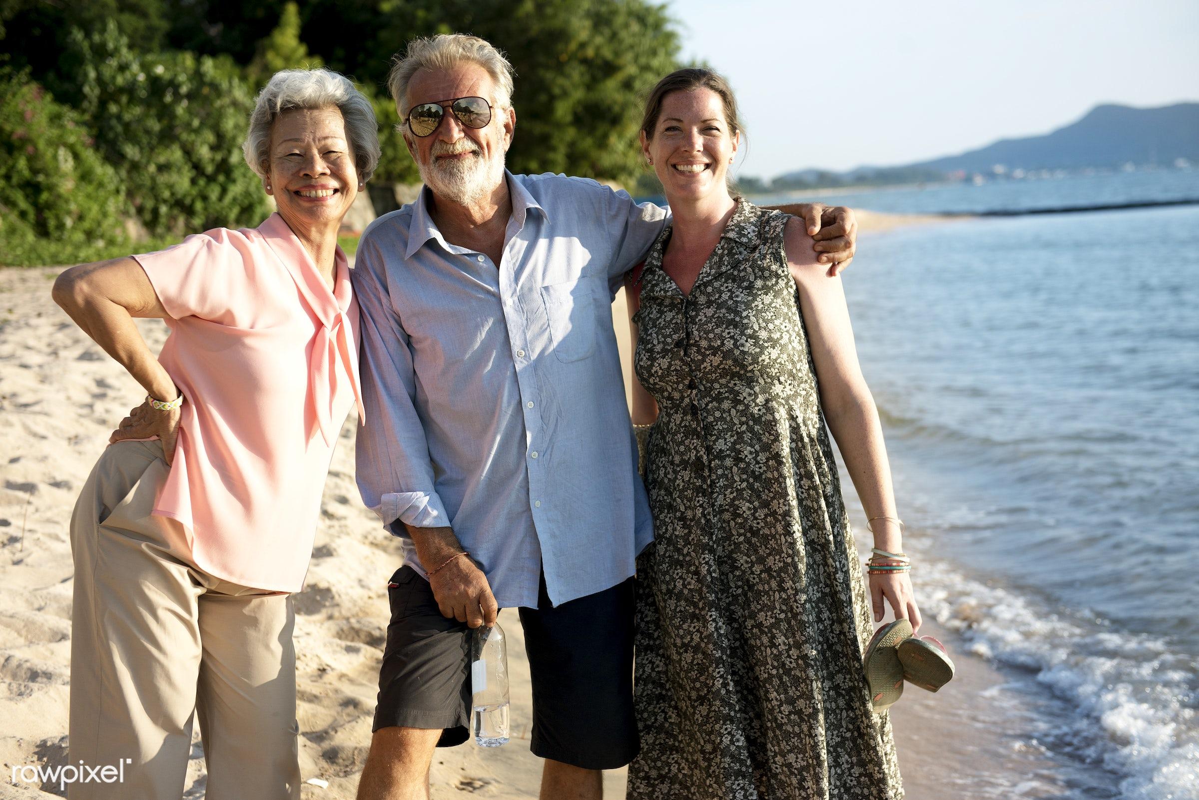 sand, diversity, sea, happiness, beach, together, coast, senior adult, enjoyment, friends, outdoors, friendship, gathering,...