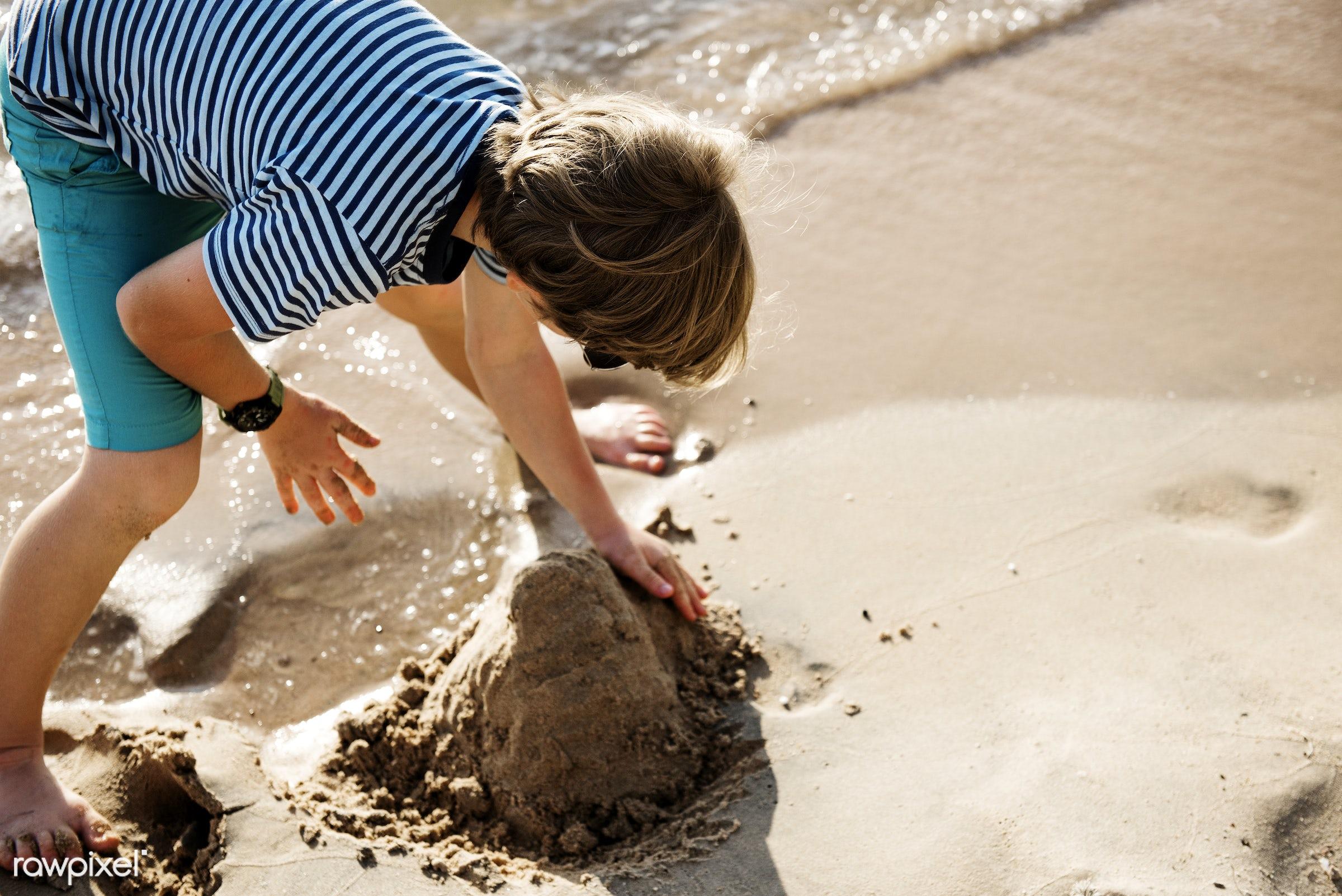 alone, beach, boy, cheerful, child, closeup, coast, enjoying, fun, happiness, holiday, kid, leisure, outdoors, playing,...