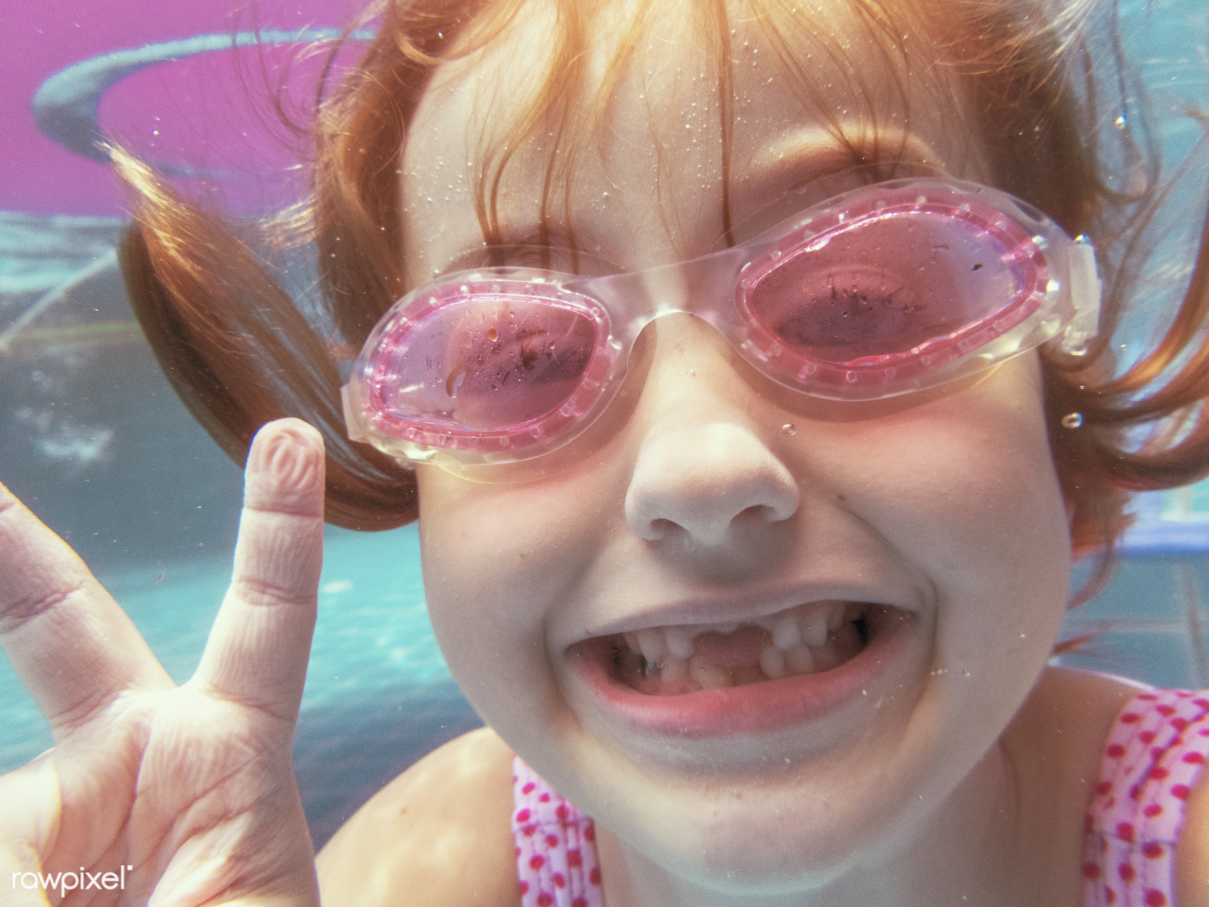 Girl with goggles smiling to camera in the pool - child, active, casual, cheerful, childhood, children, enjoying, enjoyment...