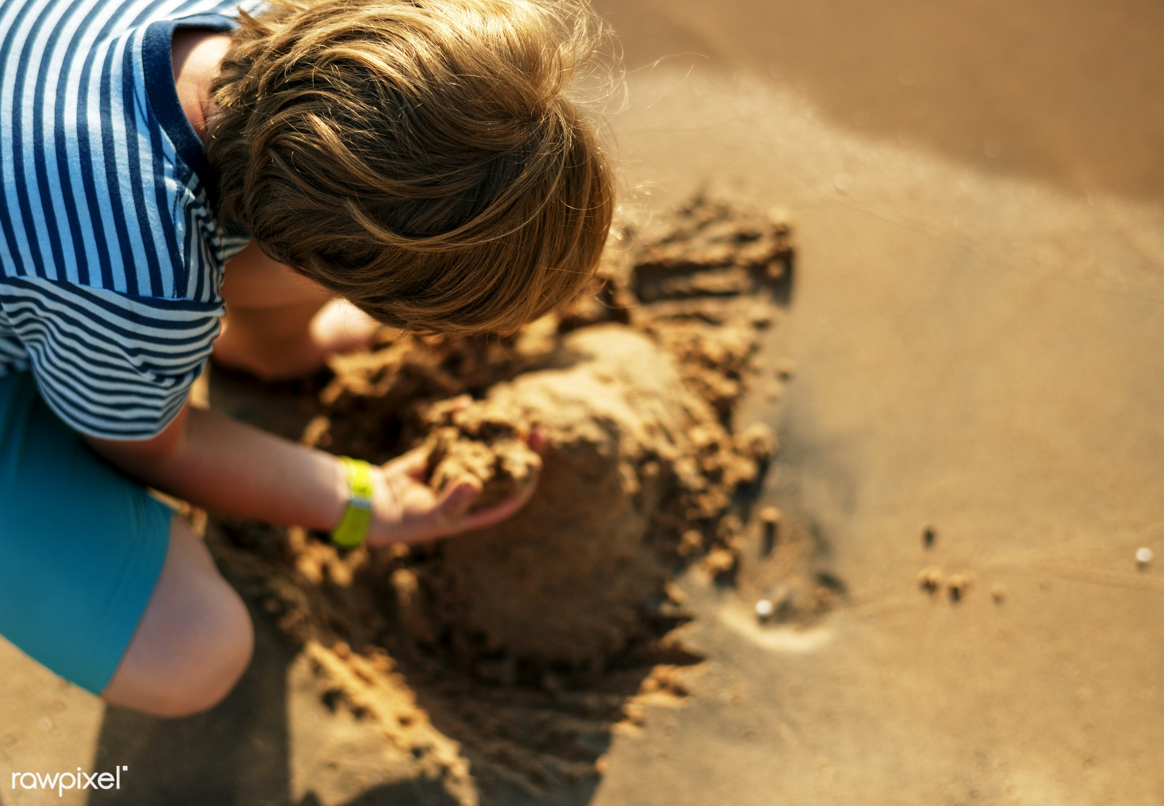 bay, beach, boy, child, crouch, fun, holiday, kid, nature, playing, sand, sea, shore, summer, vacation, young