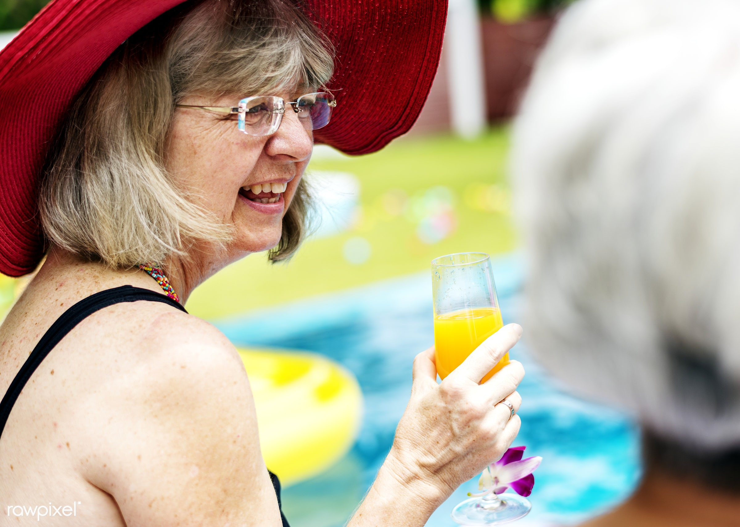 beverage, cheerful, closeup, drink, happy, holiday, inflatable, juice, leisure, party, pool, poolside, recreation, relax,...