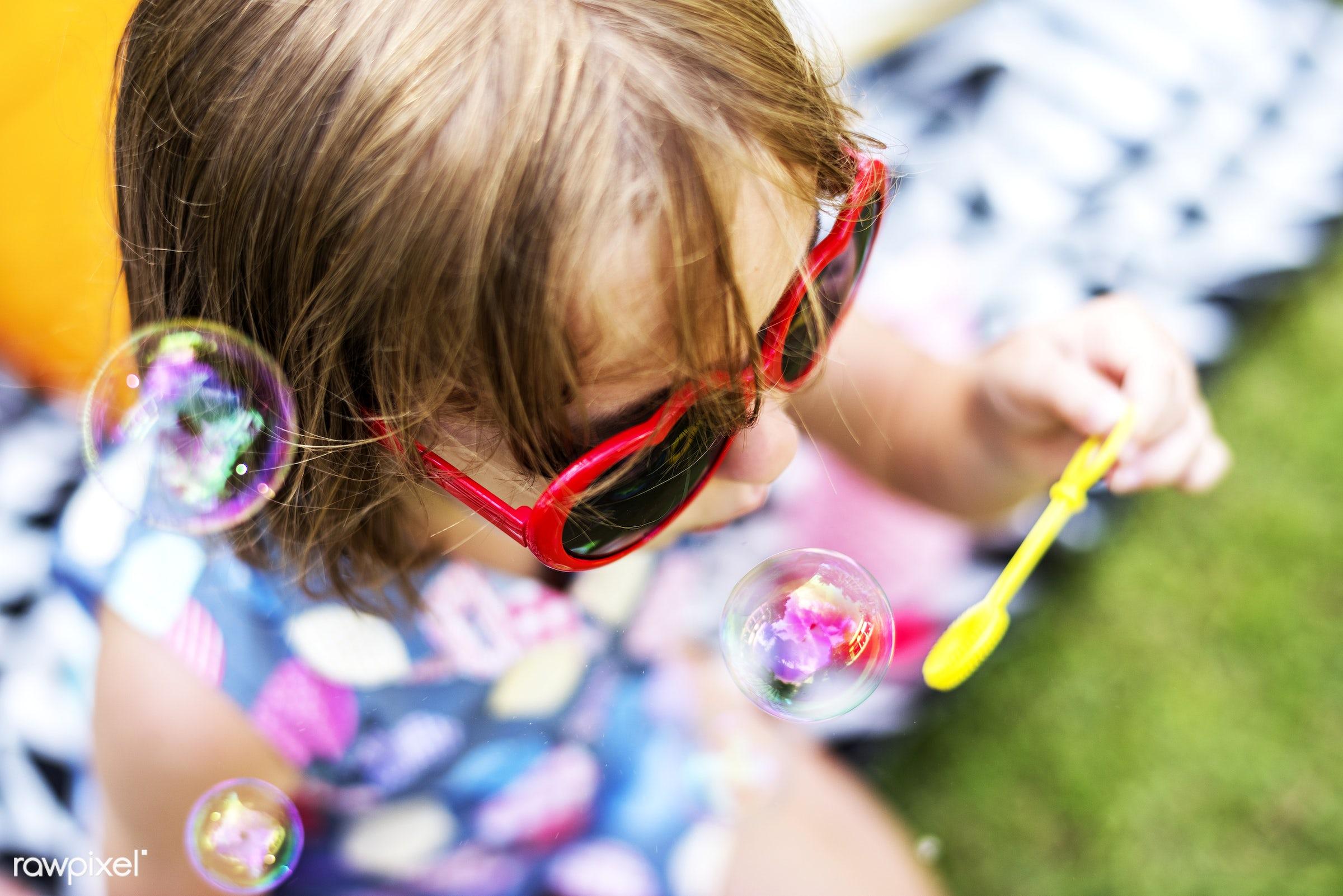alone, backyard, blowing, bubble, cheerful, child, closeup, enjoying, fun, girl, happiness, kid, leisure, outdoors, playing...