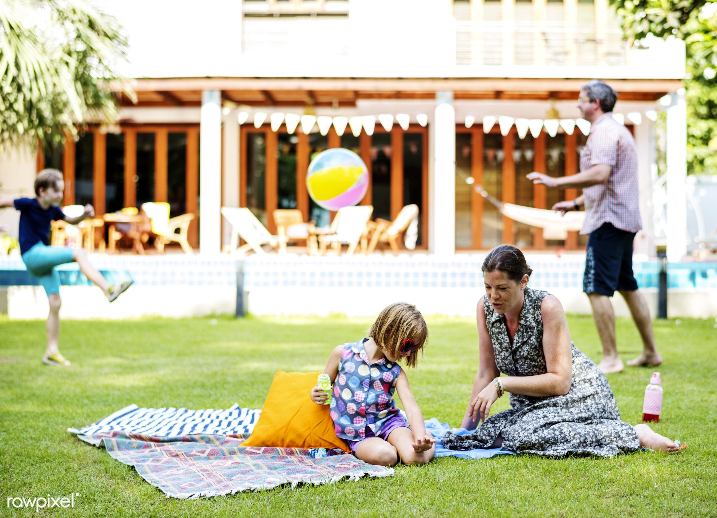 resort, activity, beachball, bonding, cheerful, child, girl, grass, home, kid, leisure, love, outdoors, parents, people,...