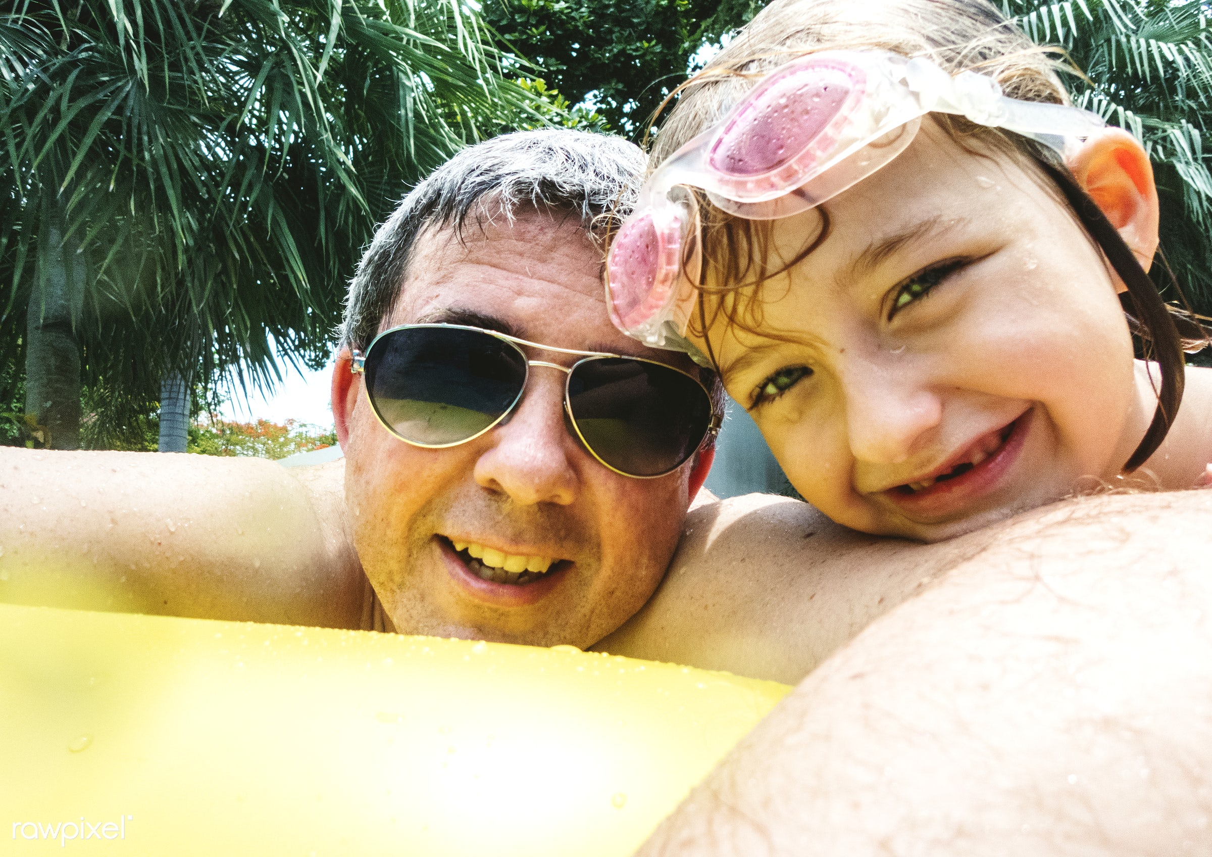 tube, relax, daughter, swimming pool, together, caucasian, father, pool, family, cheerful, smiling, closeup, dad, enjoying,...