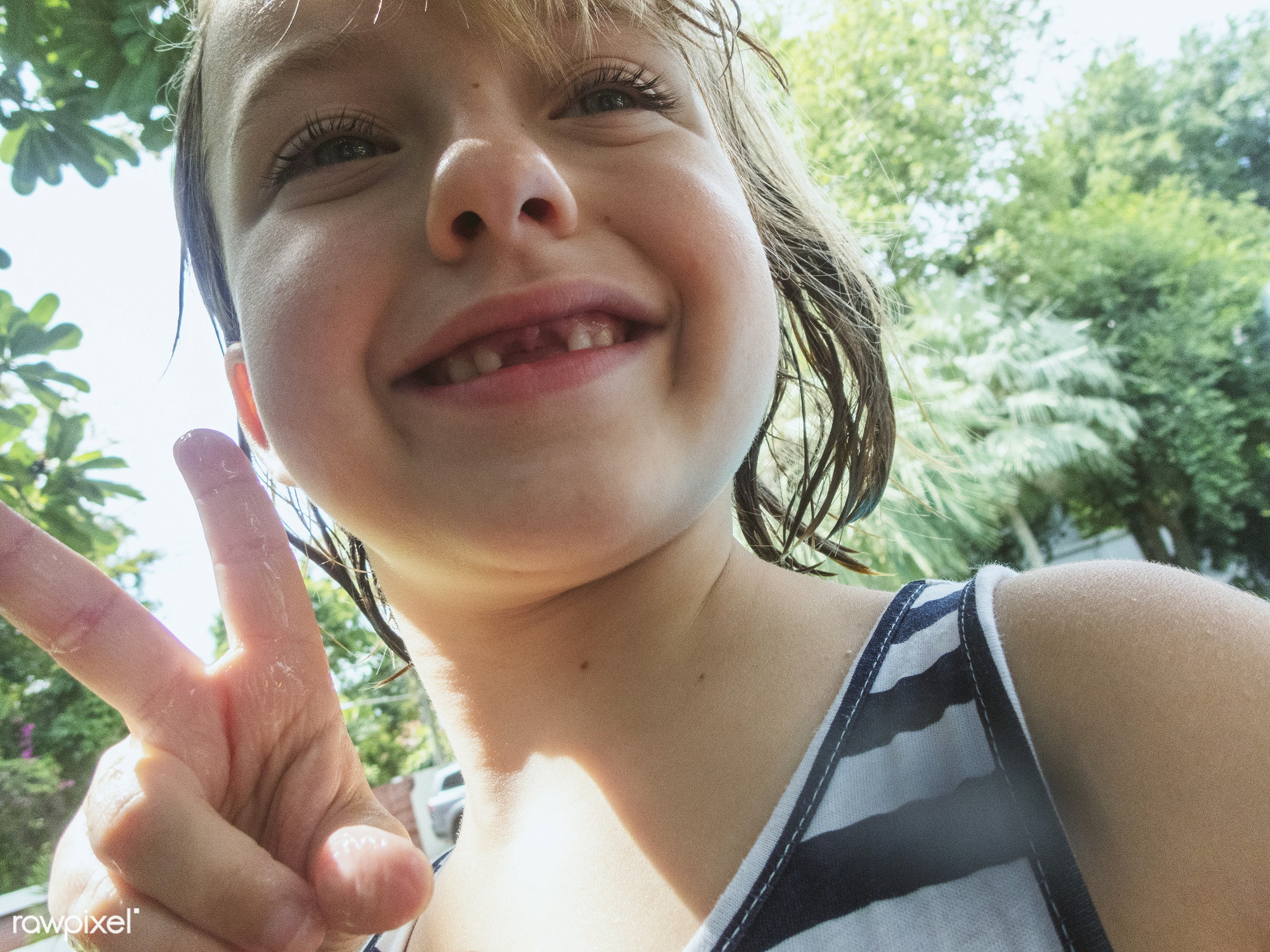 Caucasain girl smiling to camera - child, kid, summer, joy, leisure, young, fun, lifestyle, girl, youth, active, casual,...