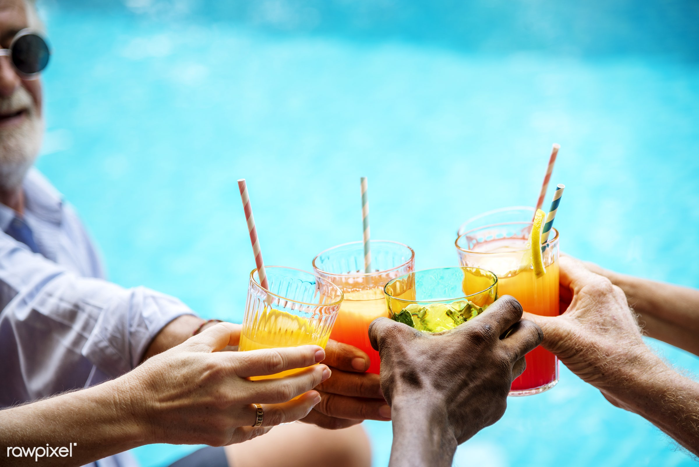 cocktail, beverage, cheers, clinking, closeup, diverse, drinks, group, hands, holding, holiday, juices, leisure, mocktail,...