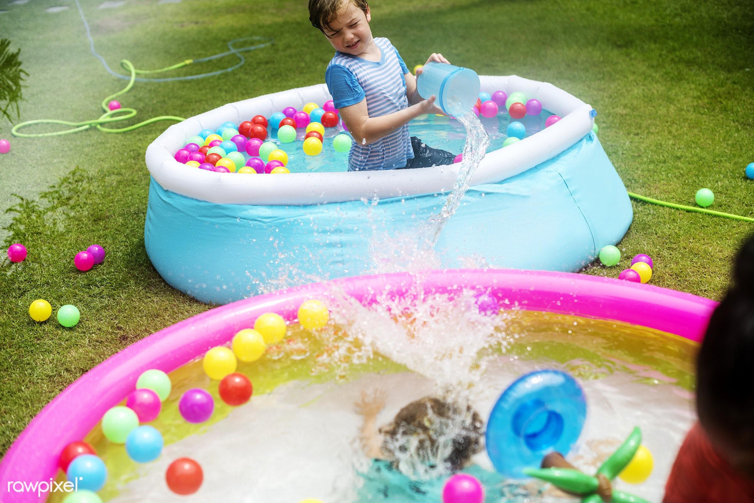 backyard, boy, cheerful, child, childhood, enjoying, fun, holiday, inflatable pool, kid, leisure, outdoors, park, plastic...