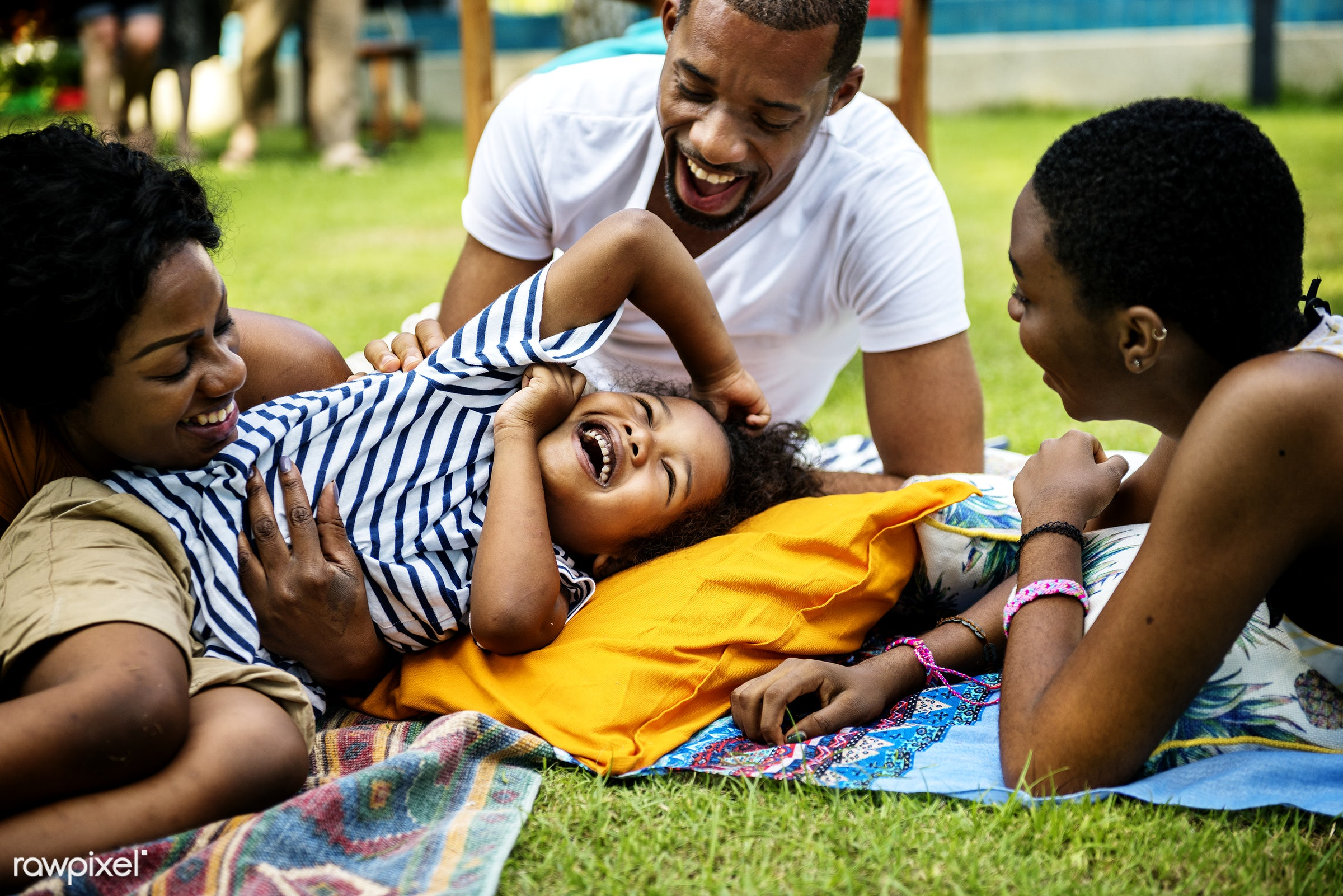 family, parent, mom, child, father, african descent, dad, kid, backyard, park, black, cheerful, closeup, daughters, enjoying...