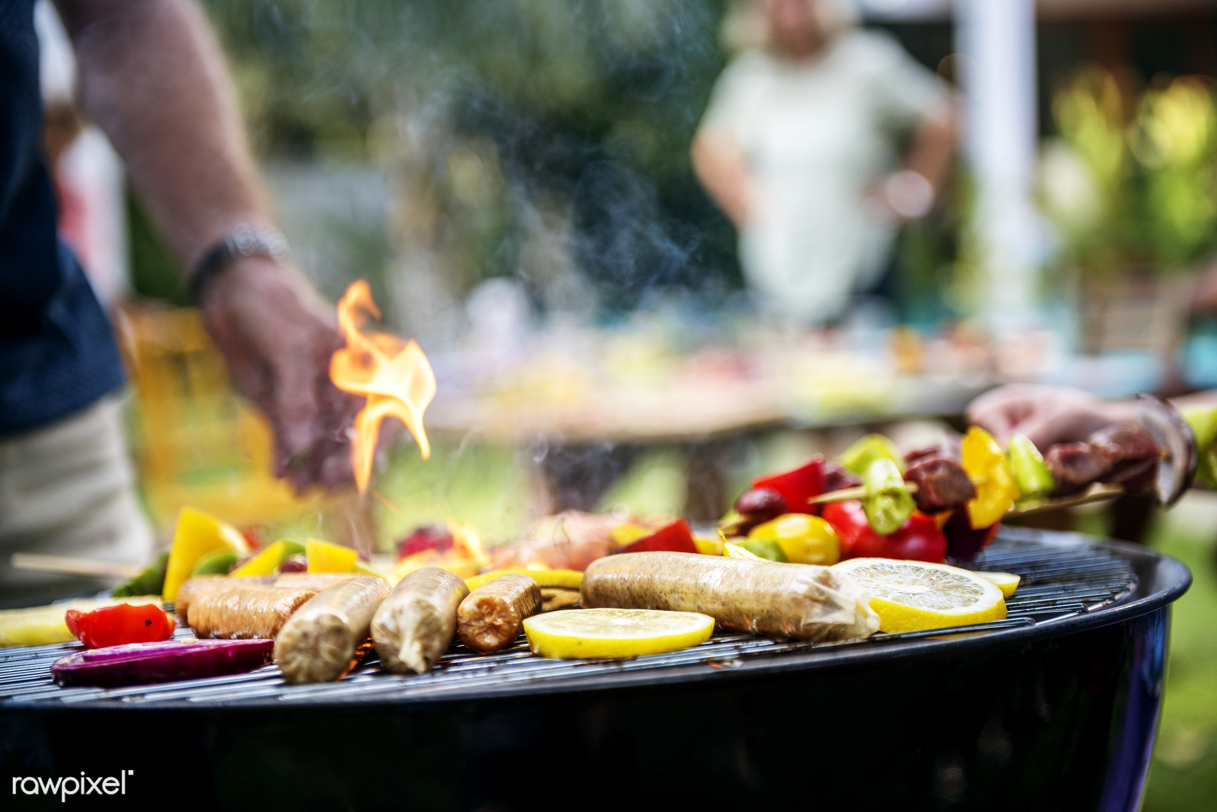 barbecue, bbq, grill, party, backyard, charcoals, closeup, cooking, diverse, family, fire, food, friends, gathering, group,...