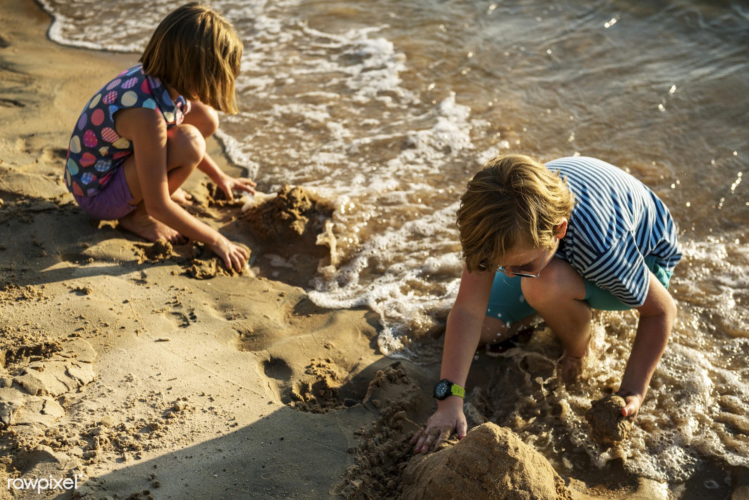 relax, children, beach, recreation, coast, sun, together, caucasian, playing, sister, cheerful, closeup, sand, enjoying, sea...