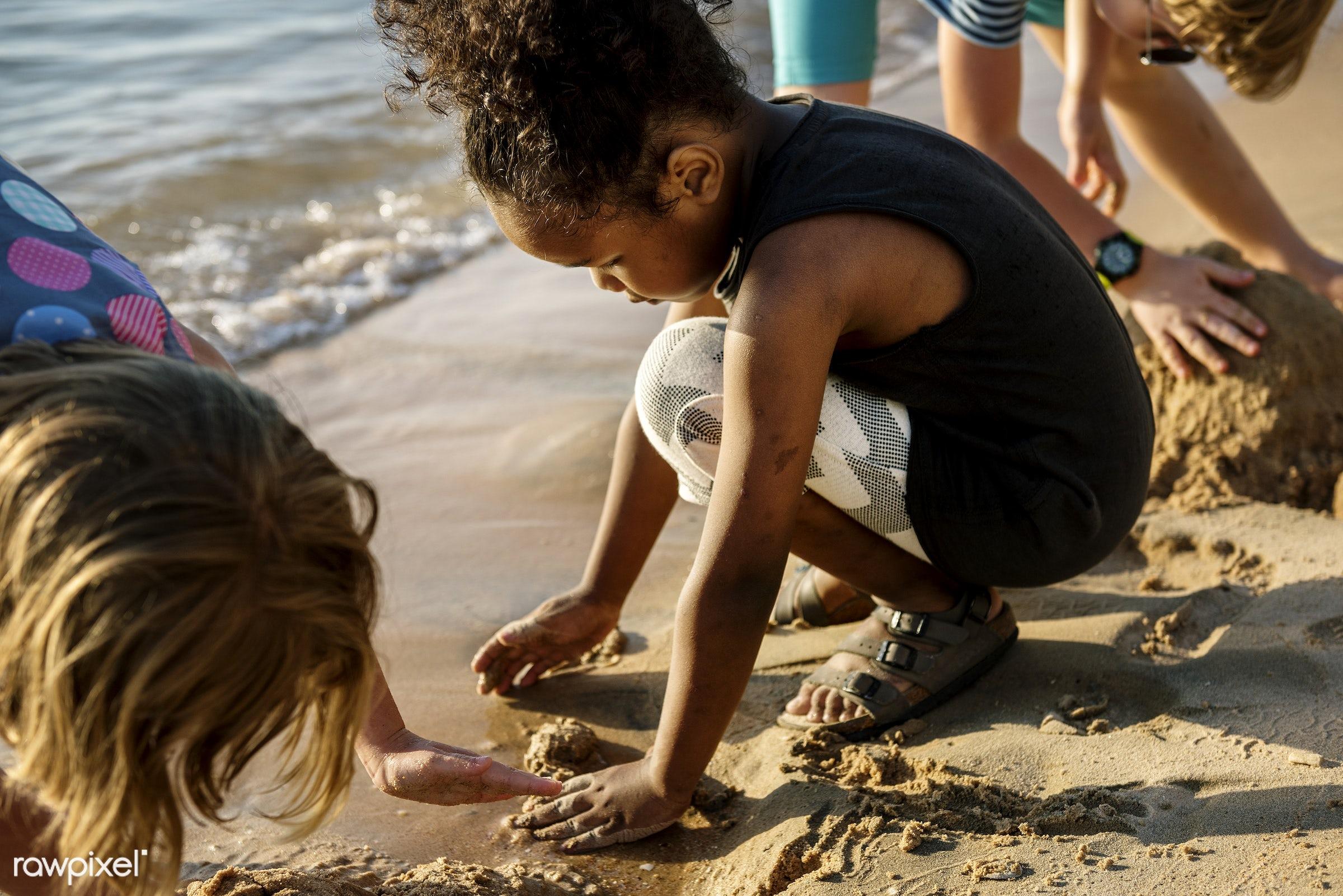 diverse, relax, children, beach, recreation, coast, sun, together, caucasian, playing, friends, cheerful, black, closeup,...