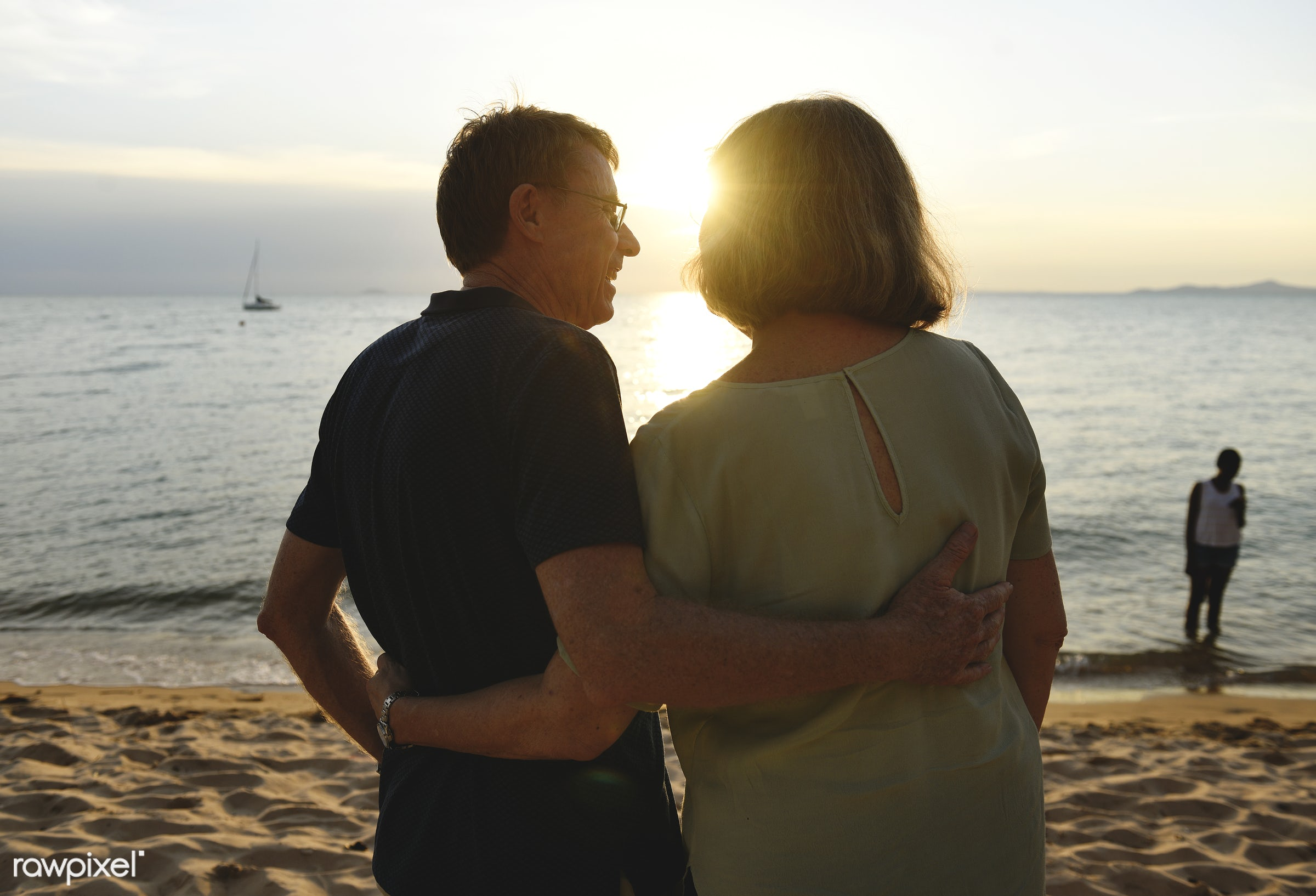 relax, beach, together, coast, caucasian, love, couple, dating, cheerful, rear view, sand, enjoying, sea, happiness, leisure...