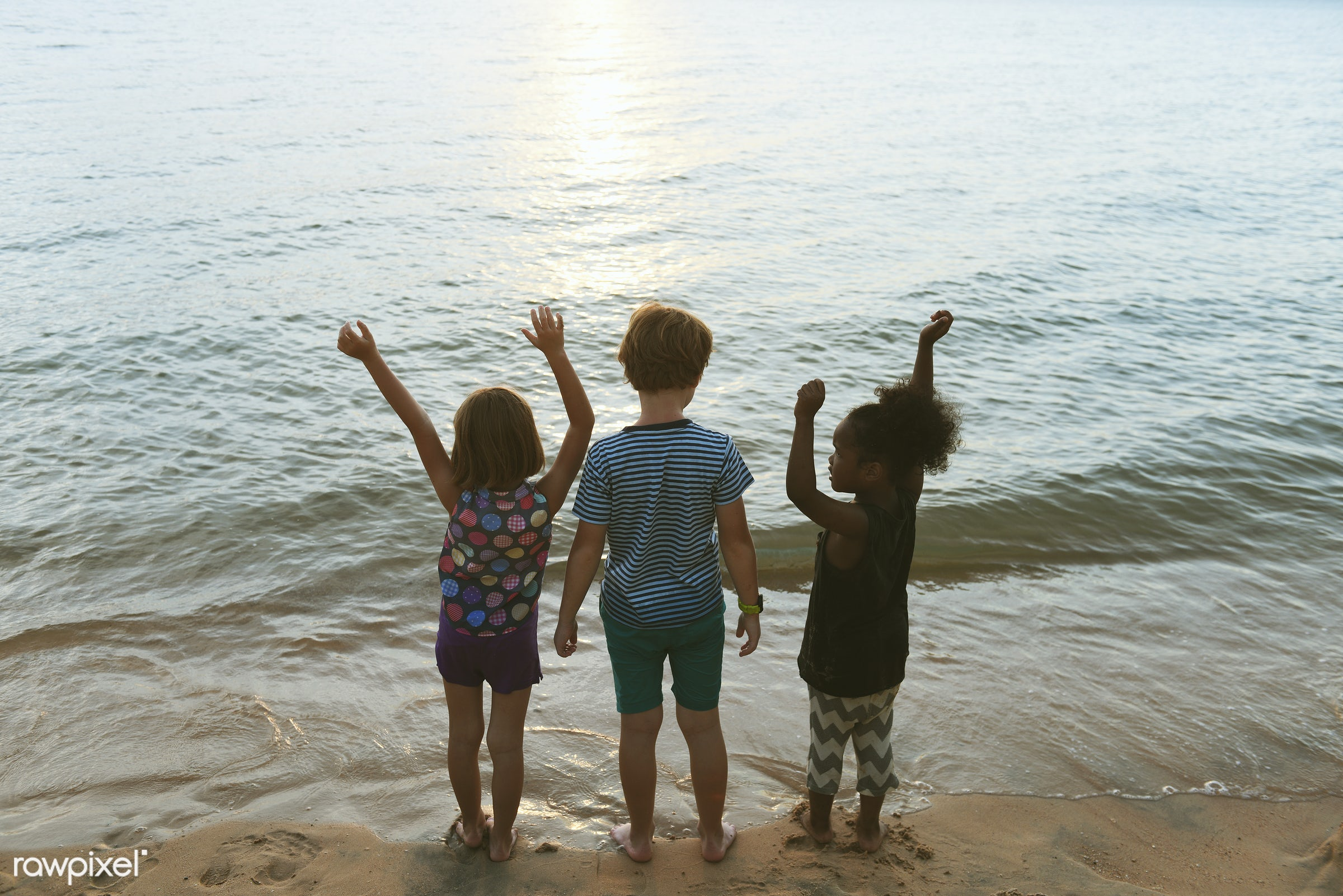 shore, diverse, arms raised, children, beach, playing, girl, nature, sand, sea, fun, kids, young, holiday, vacation, bay,...