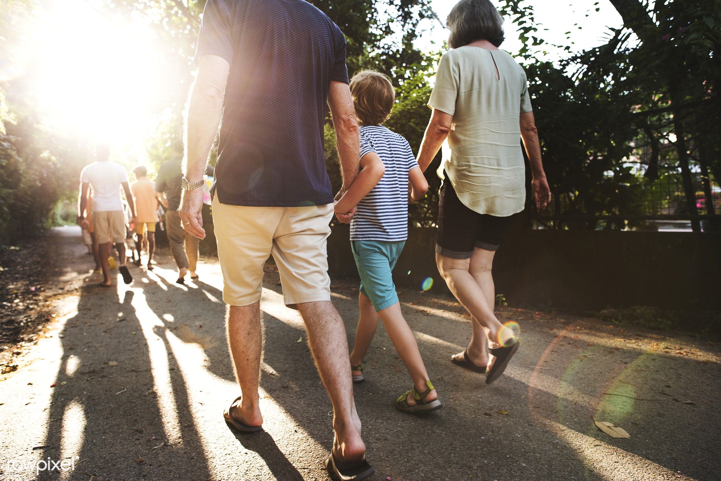 Rear view of caucasian family walking outdoors together - cheerful, closeup, enjoying, family, fun, happiness, holiday, legs...