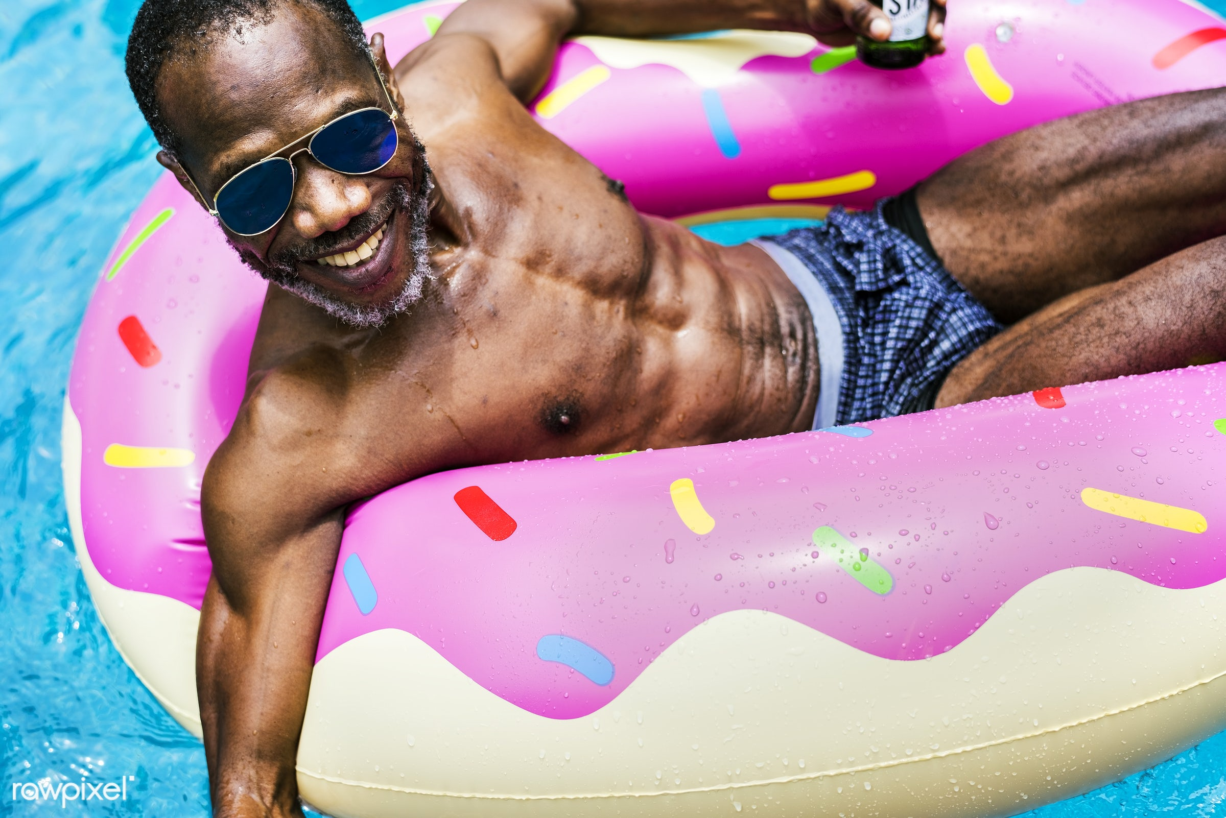 tube, relax, swimming pool, recreation, party, pool, alone, cheerful, smiling, black, closeup, man, african descent, leisure...