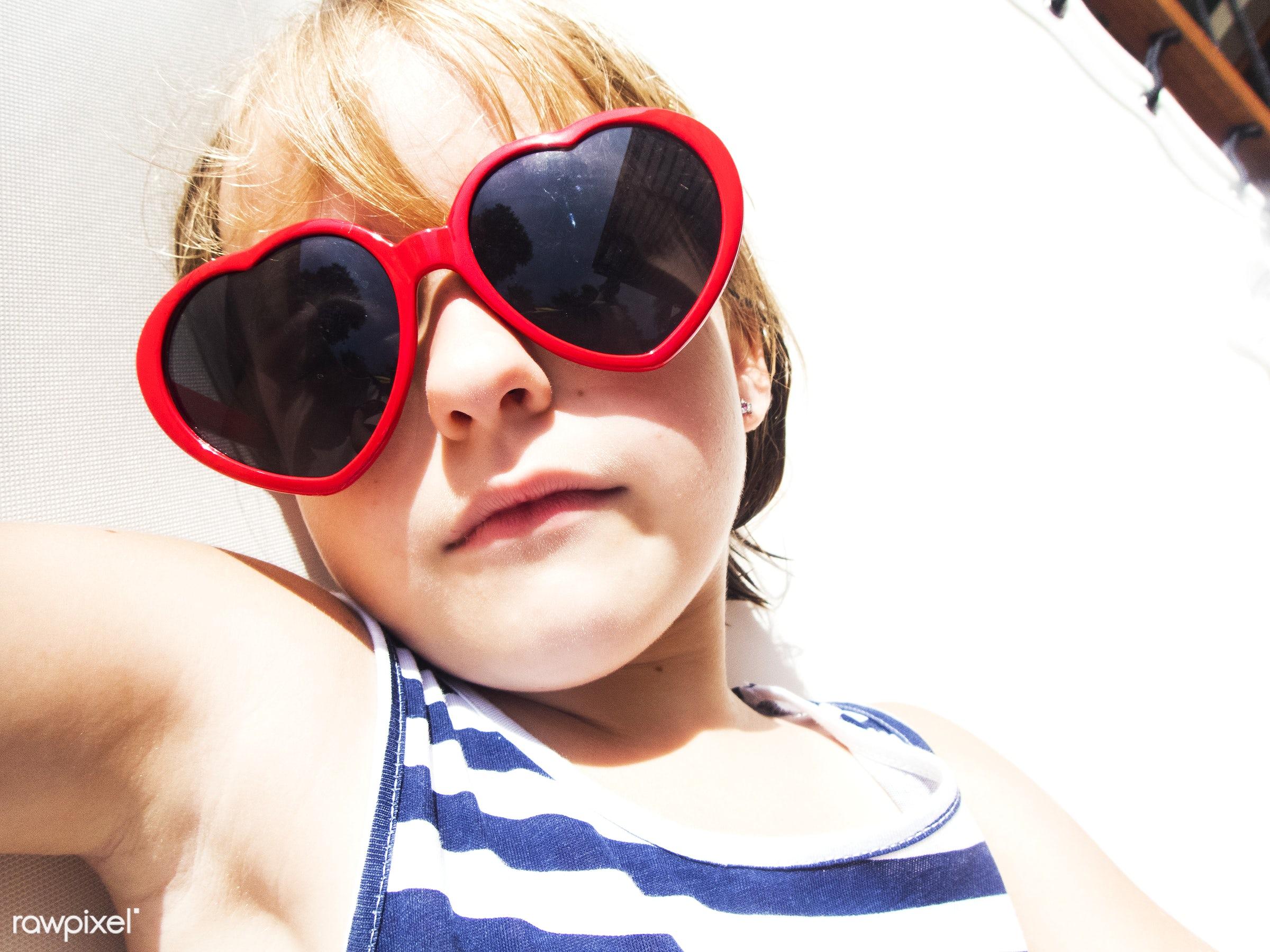 sunbath, alone, blonde, cheerful, child, closeup, enjoying, girl, holiday, kid, leisure, outdoors, relax, summer, sunglasses...