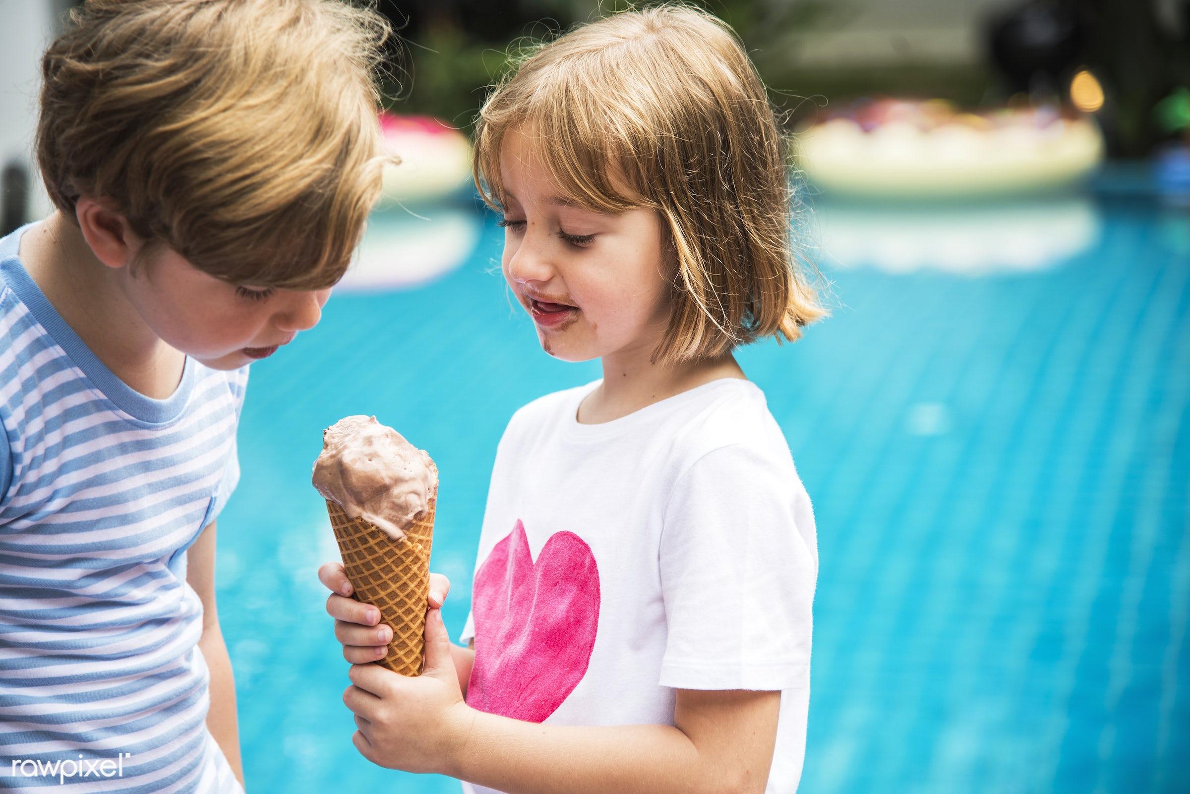 boy, brother, cheerful, child, closeup, eating, enjoying, fun, girl, holiday, ice cream, kid, leisure, outdoors, pool,...