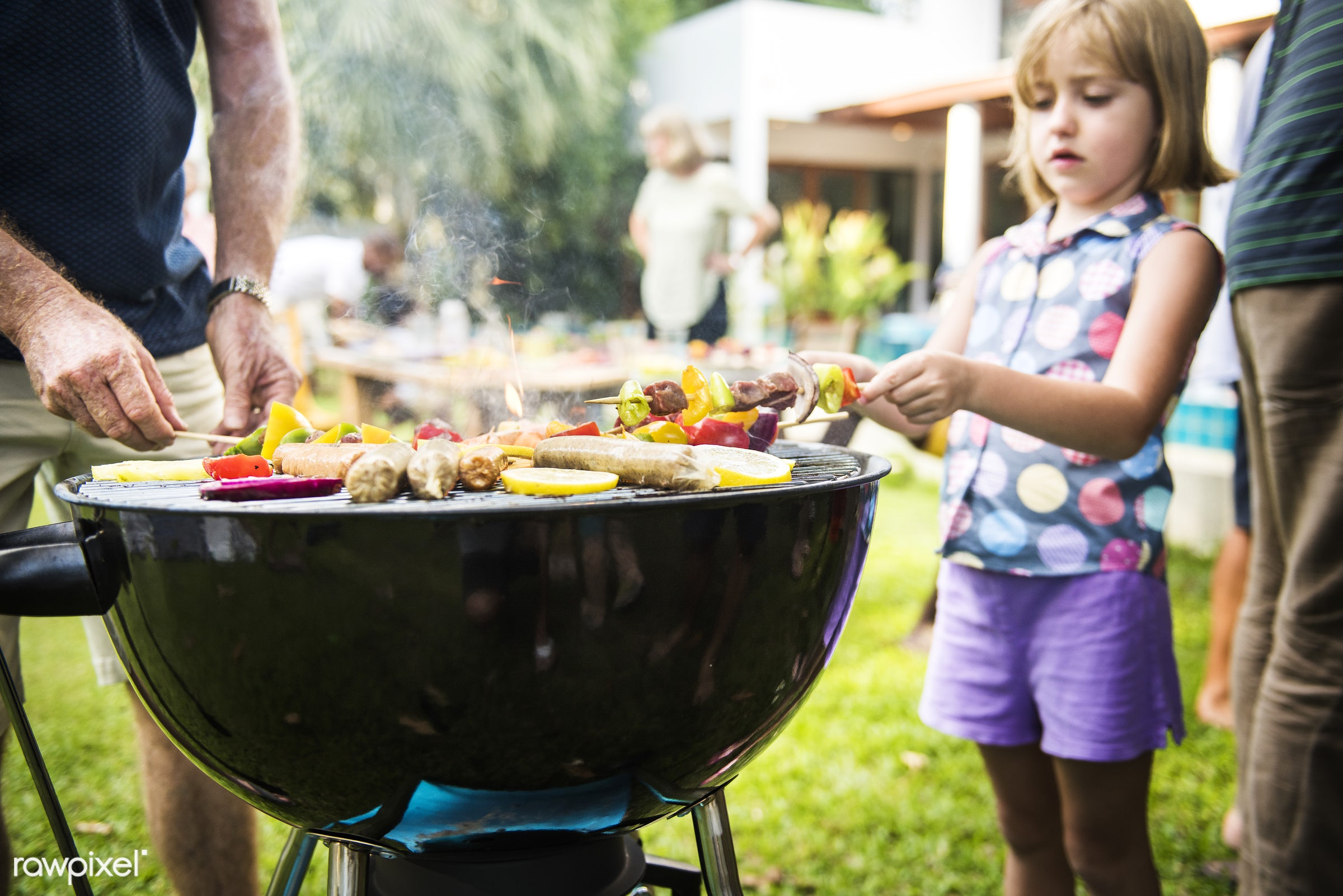 barbecue, bbq, charcoals, cook, cooking, cookout, diverse, family, food, garden, grass, grill, group, holiday, homemade,...