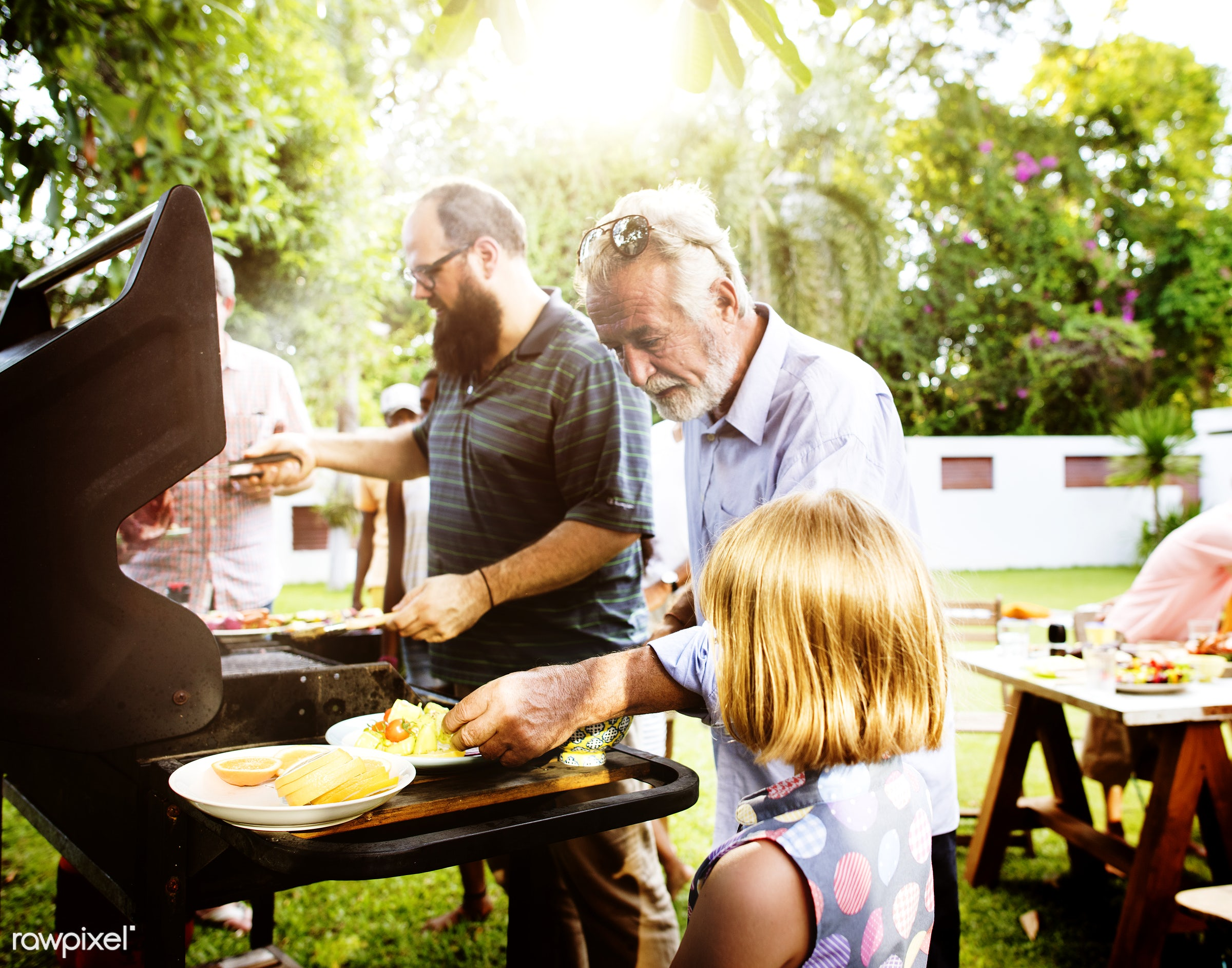 parents, grill, yard, diverse, steaks, homemade, party, people, together, family, cooking, meats, bbq, meal, park, grass,...