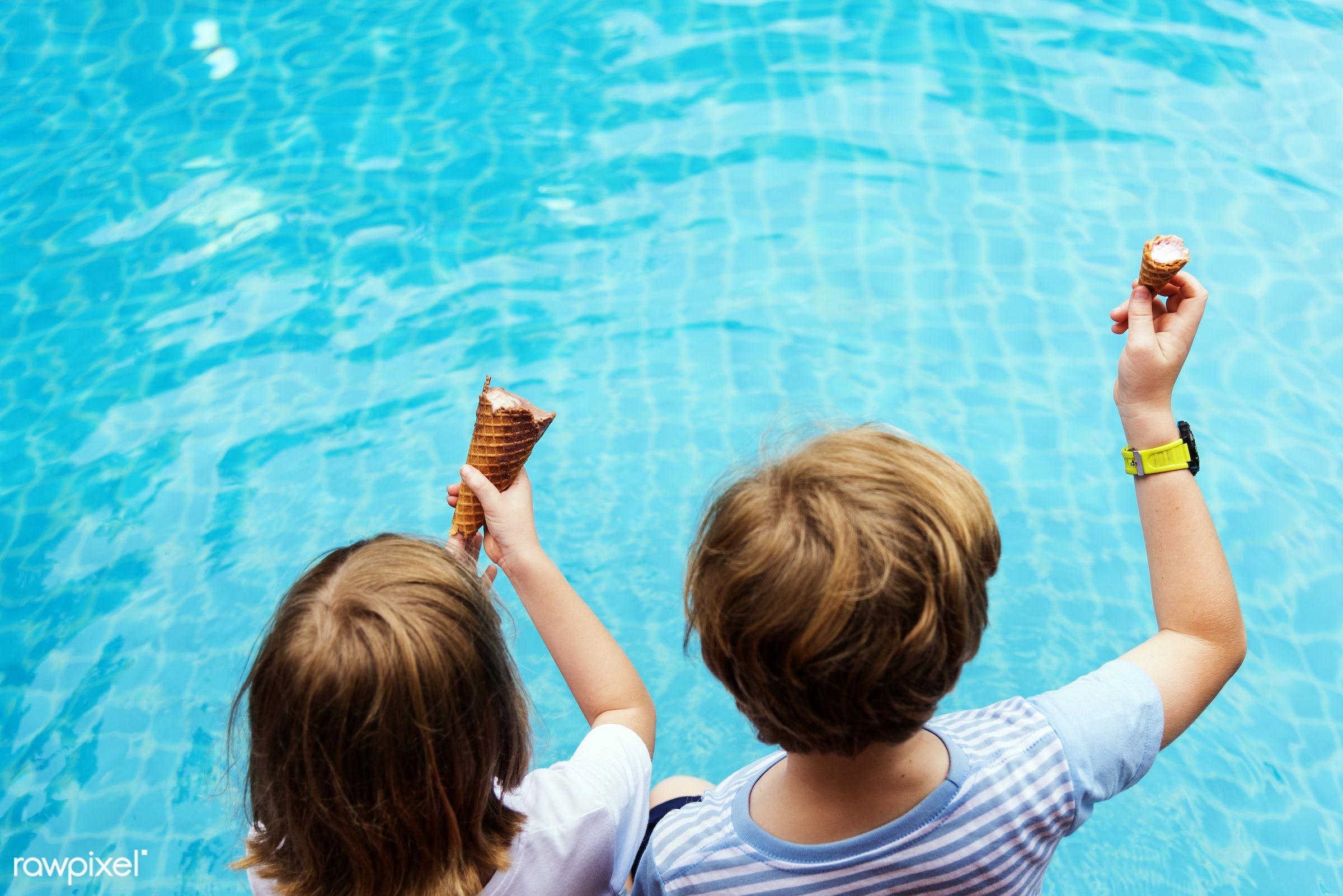 playful, joy, children, swimming pool, people, caucasian, kid, child, happy, lifestyle, casual, ice cream, childhood,...