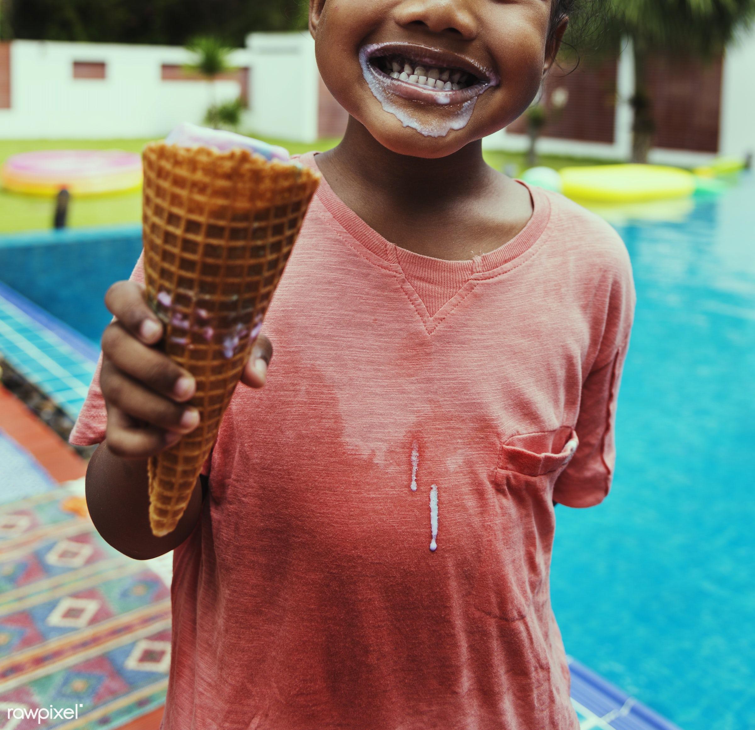 kid, african descent, fun, alone, black, cheerful, child, closeup, eating, enjoying, girl, holiday, ice cream, leisure,...