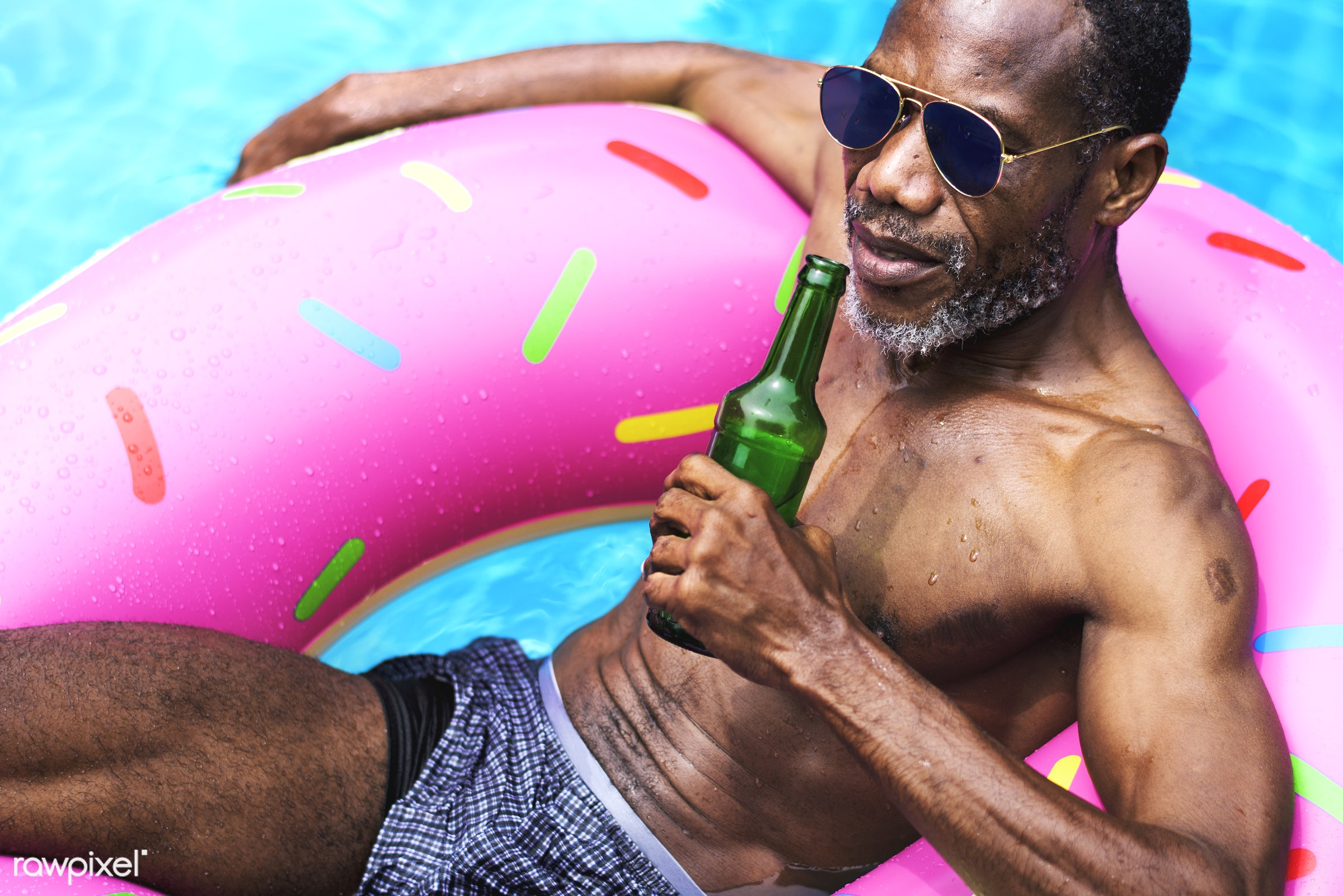 relax, recreation, drinks, beer, pool, cheerful, alone, tubes, man, enjoying, african descent, happiness, leisure, fun,...