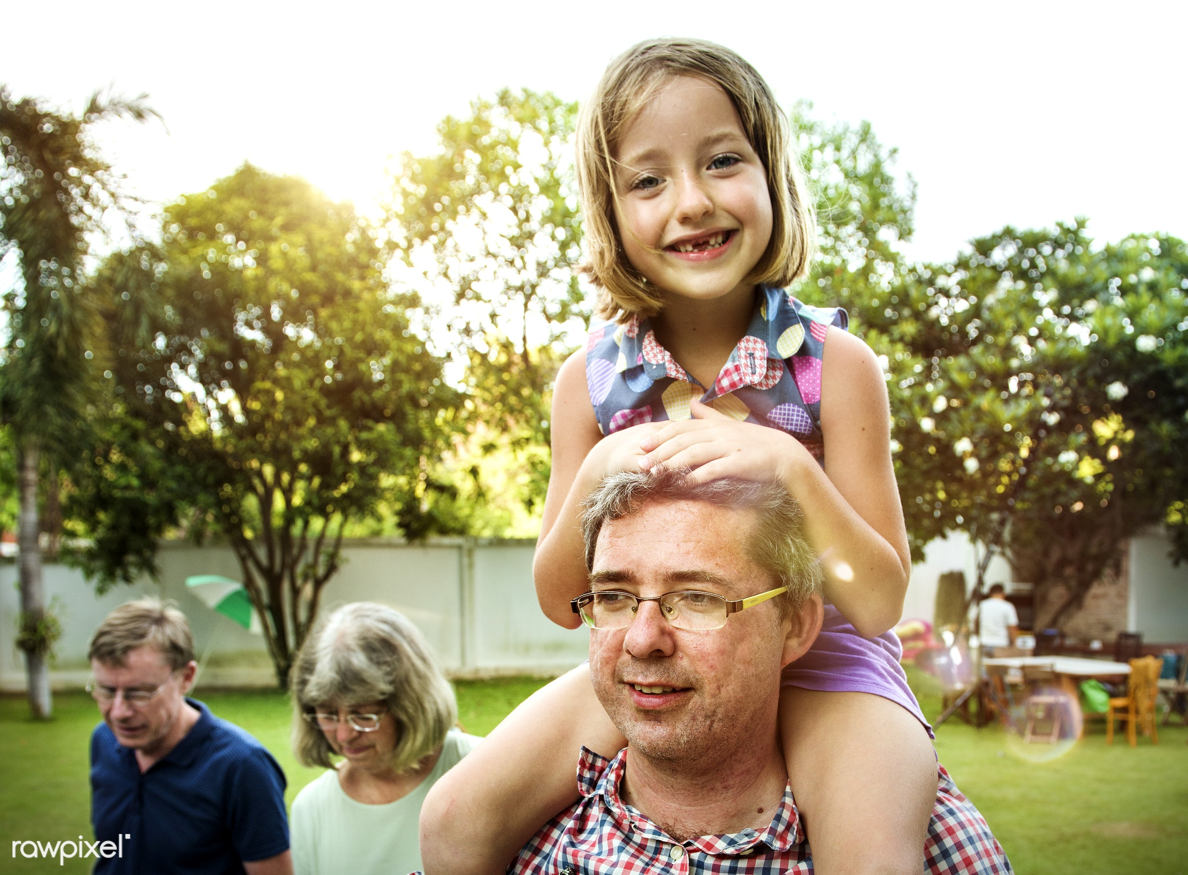 neck, relax, daughter, together, caucasian, father, riding, family, backyard, bbq, cheerful, smiling, closeup, dad, enjoying...