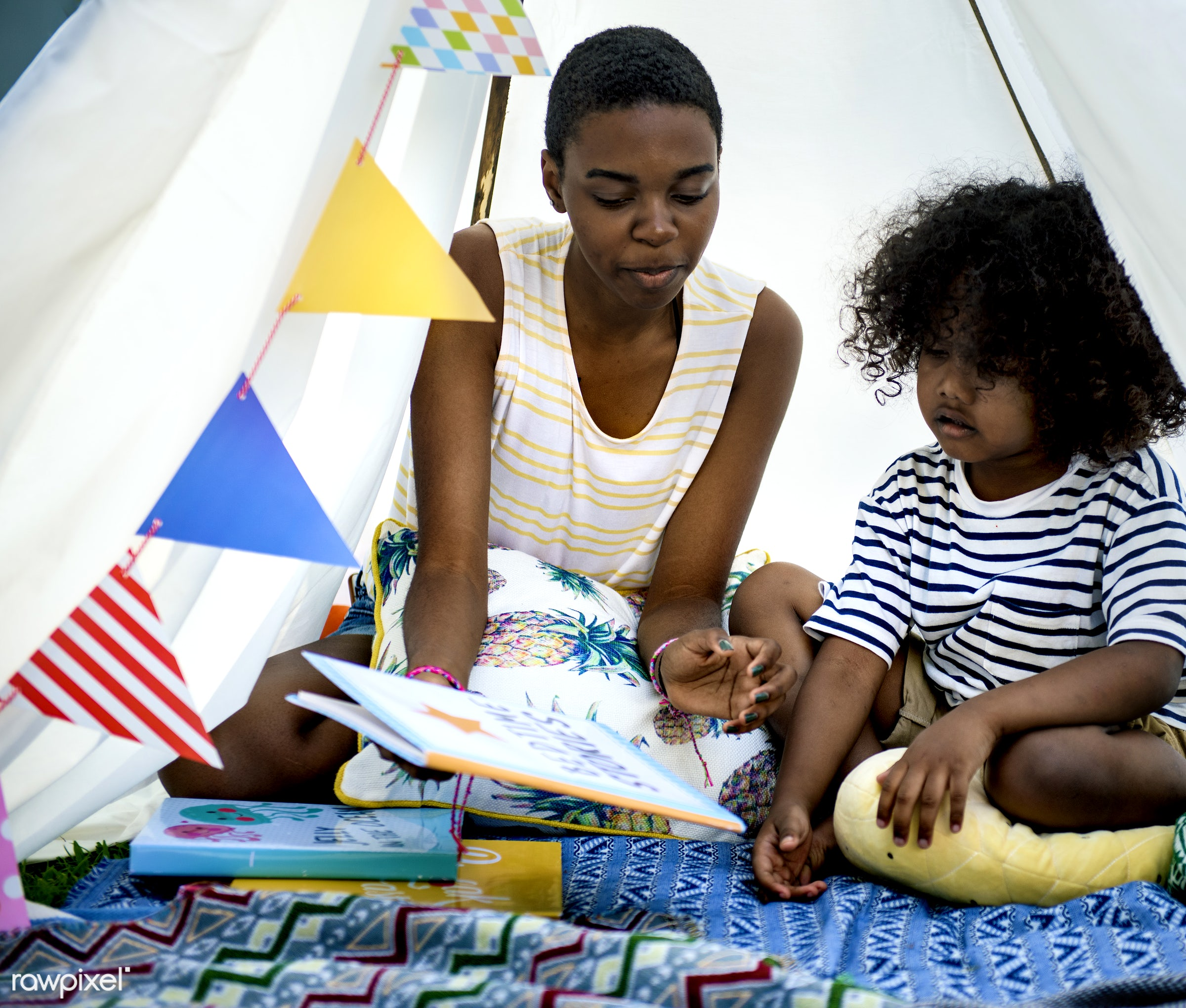 african descent, bedtime story, book, children, fairy tale, girls, kids, leisure, outdoors, people, reading, recreational,...