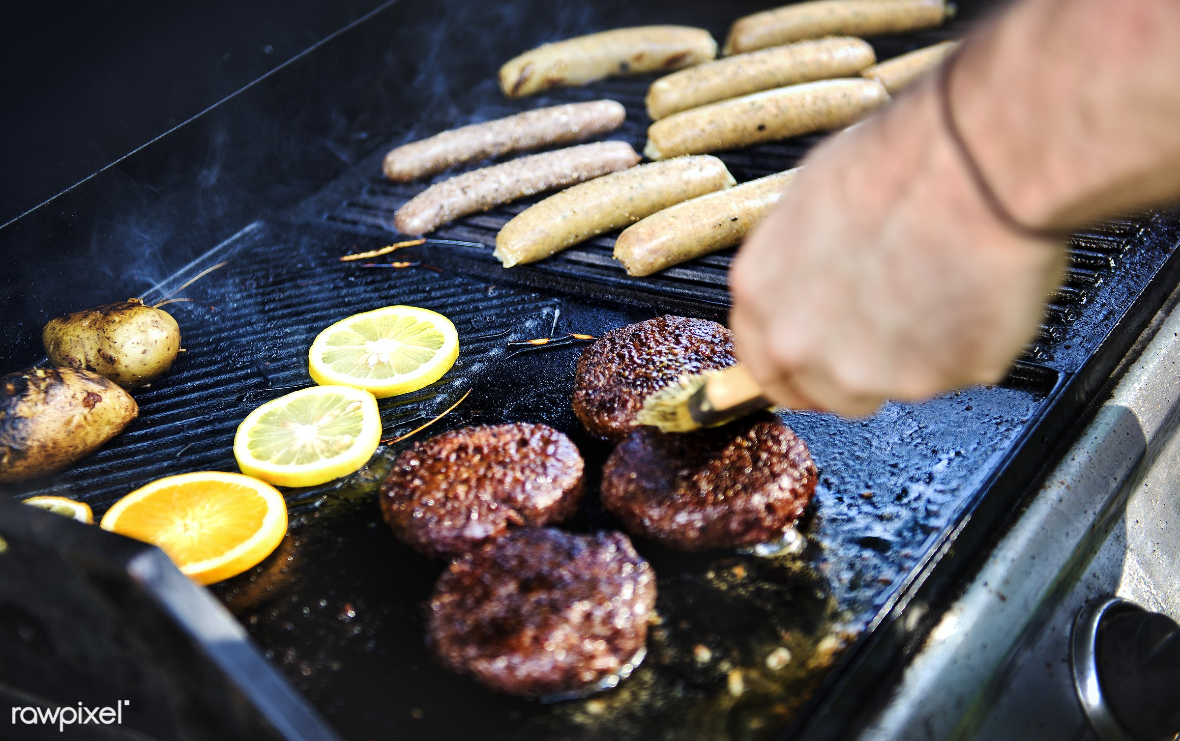 bbq, barbecue, burger, charcoals, closeup, cook, cooking, cookout, food, grill, hand, home, homemade, meal, meat, nobody,...