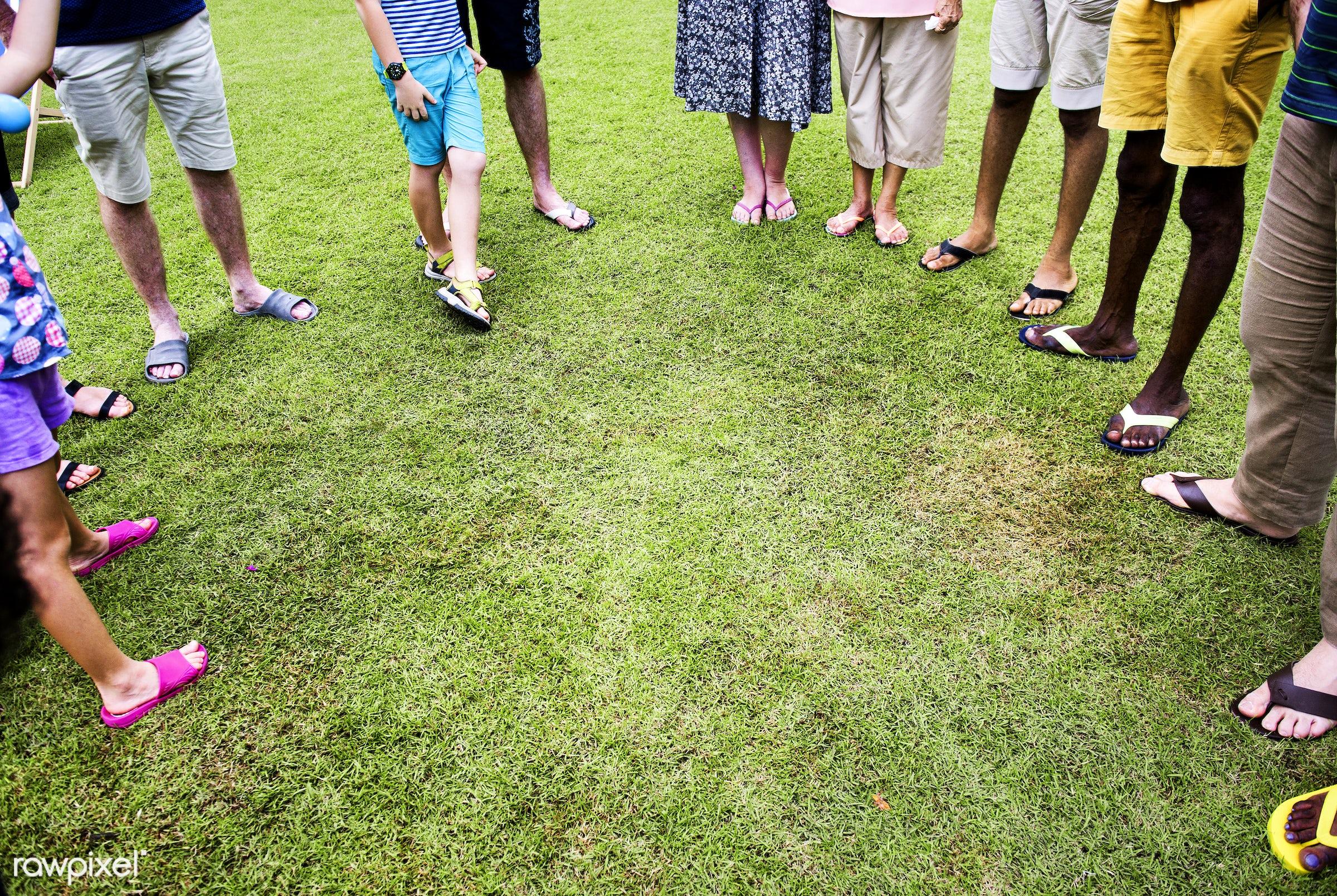 grass, backyard, cheerful, diversity, enjoyment, feet, friends, friendship, gathering, happiness, legs, outdoors, senior...
