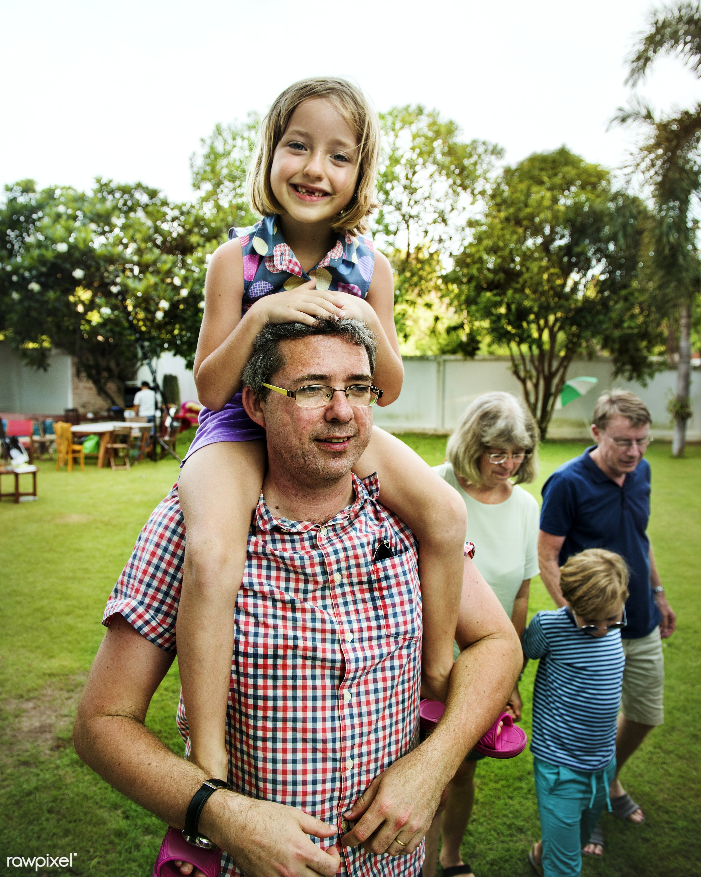home, parents, yard, grandfather, daughter, piggy back ride, niece, together, father, girl, family, casual, childhood,...