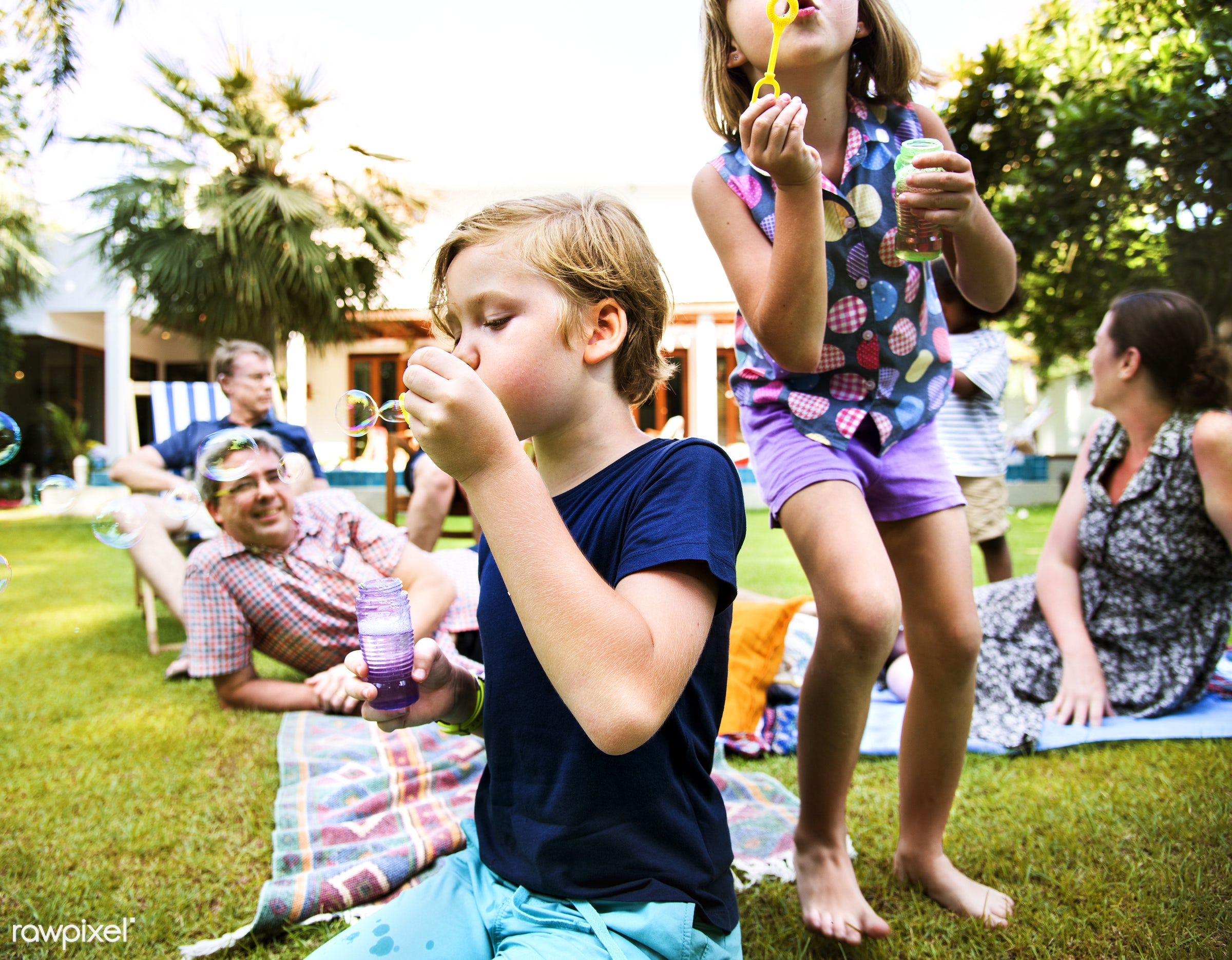 Kids enjoying blowing bubble outdoors - family, kid, happy, vacation, child, fun, holiday, happiness, joy, summer, active,...