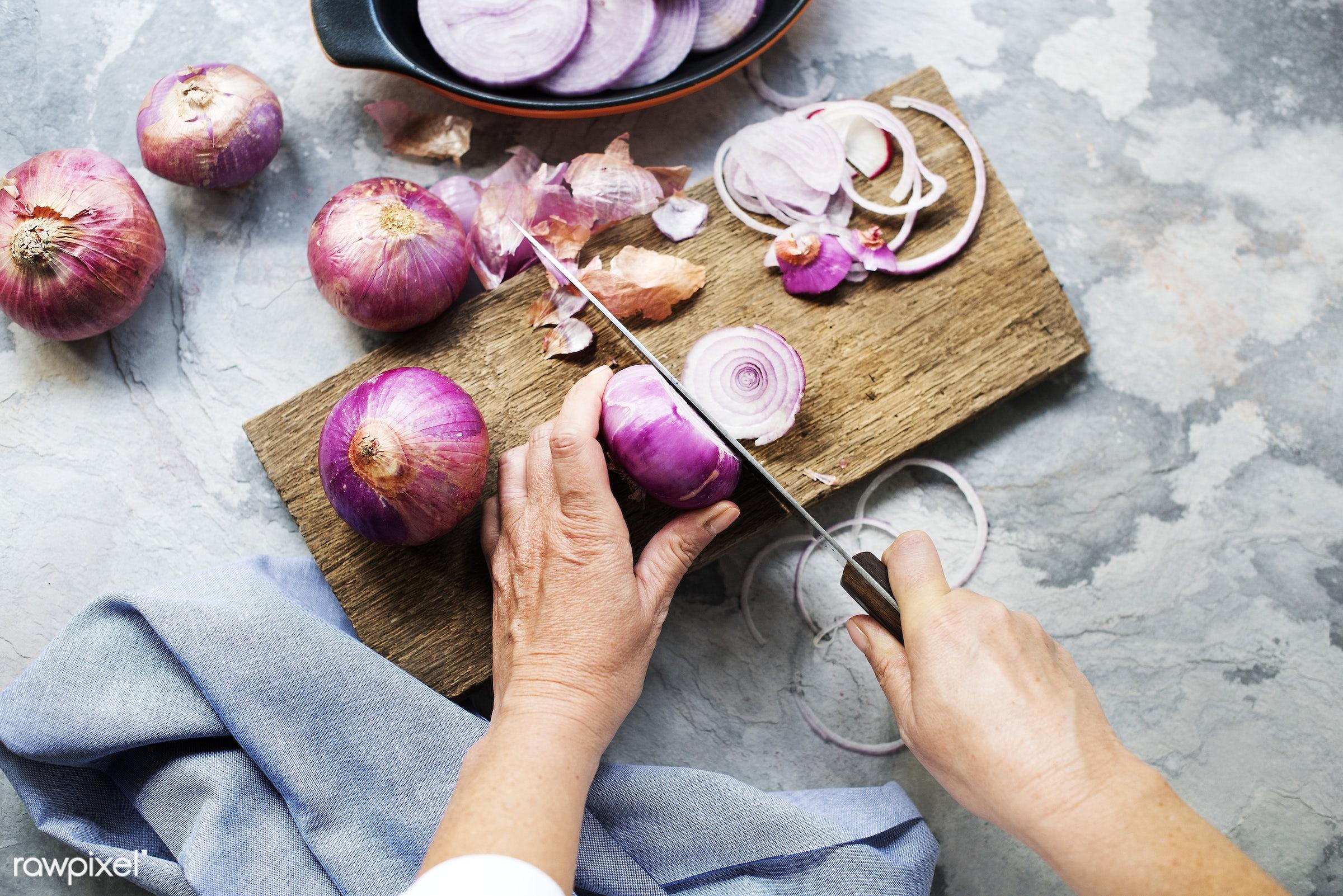 chopping board, chop board, nature, fresh, hands, aerial view, onion, closeup, knife, cut board, preparation, cutting, red...