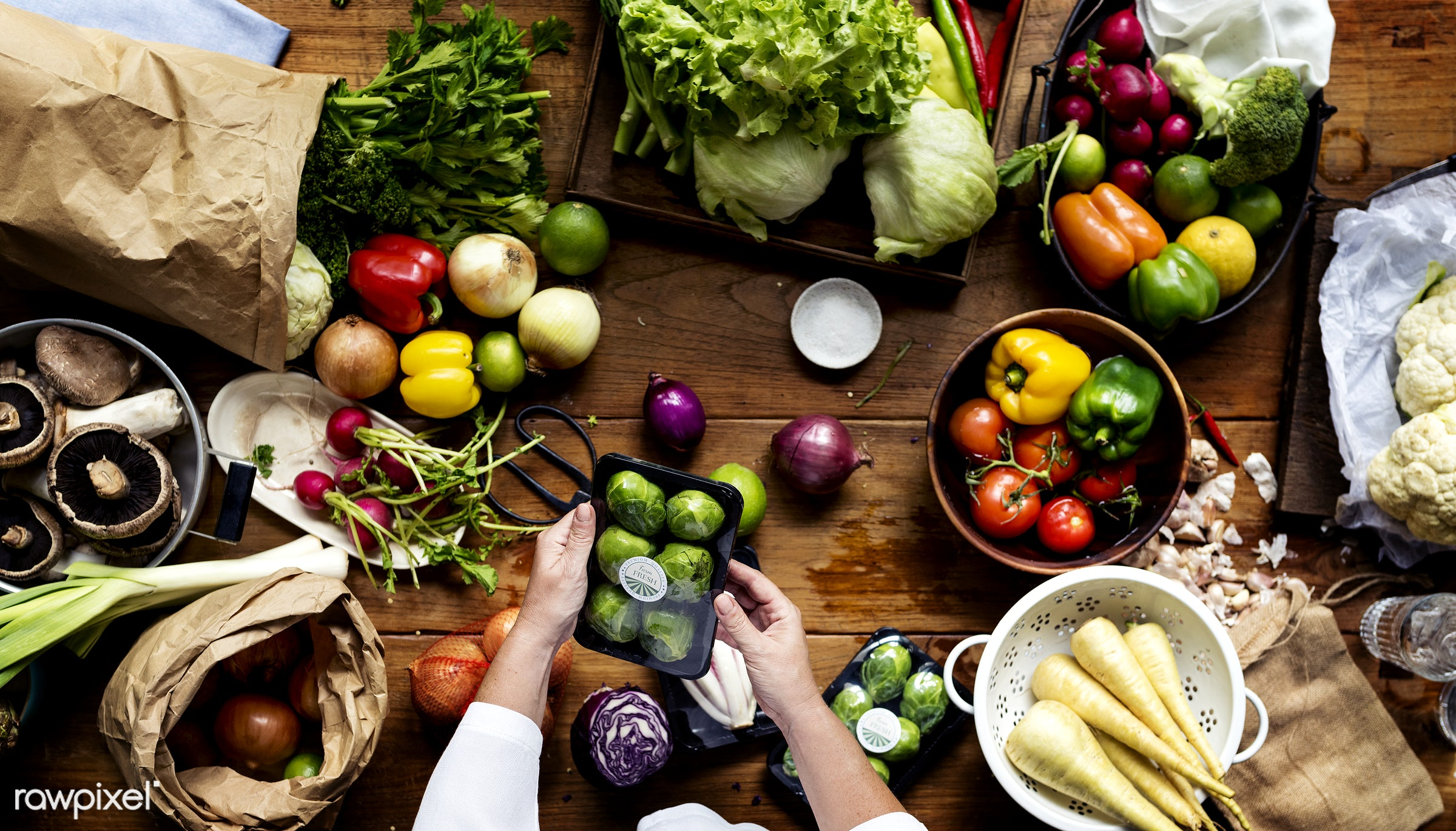 A person preparing vegetables - raw, diverse, herbs, farm, ingredients, farmer, nature, fresh, hands, aerial view, products...